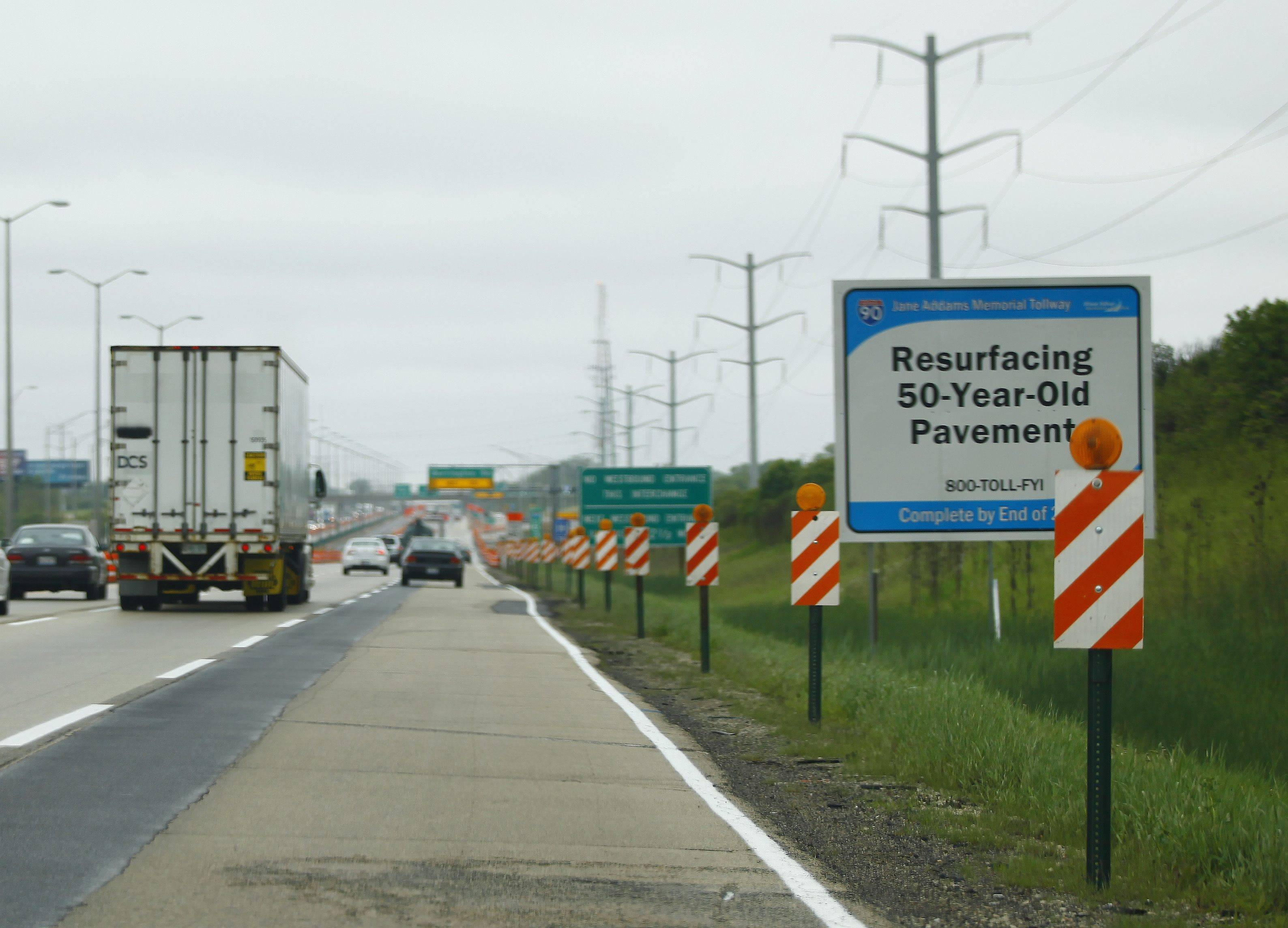 Roadwork has begun on a resurfacing project along I-90 between Barrington Road and the Elgin Toll Plaza.