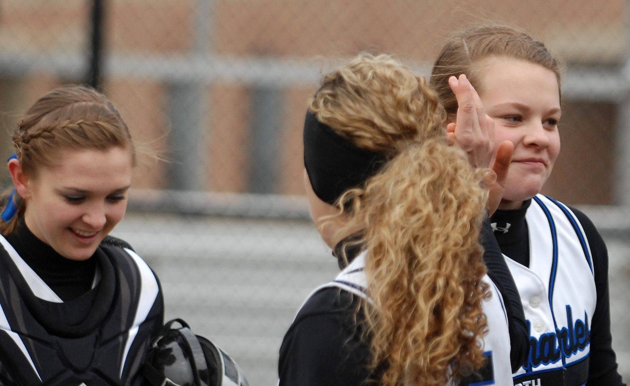 St. Charles North pitcher Amanda Ciran is congratulated after her first win of the year against Plainfield Central. She has 19 more since then and will put her 20-1 record on the line Thursday against Leyden in the sectional semifinals.