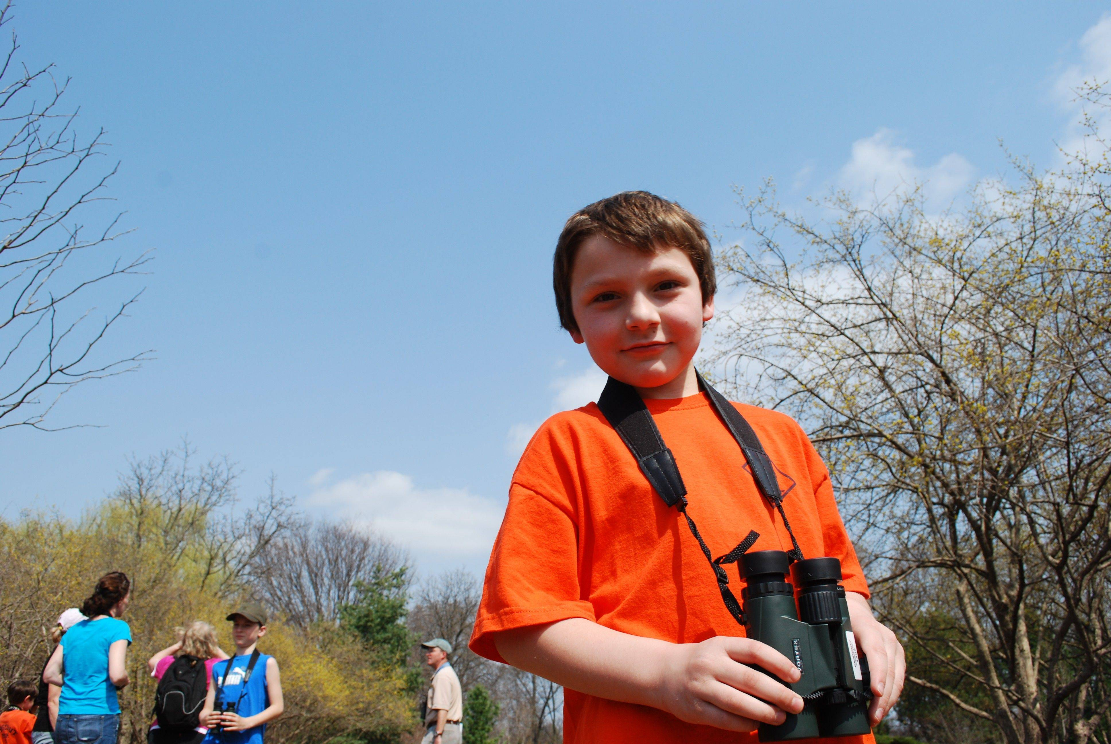 Gabriel Alvarez from Cub Scout Pack 151 gets ready to hit the trail during a bird-watching expedition at Cantigny Park.