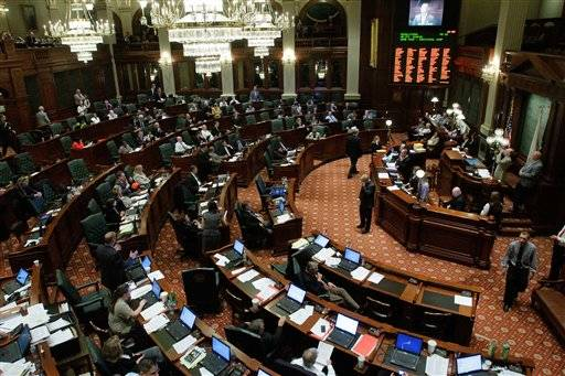 Illinois lawmakers debate state legislation at the Illinois State Capitol in Springfield on Tuesday.