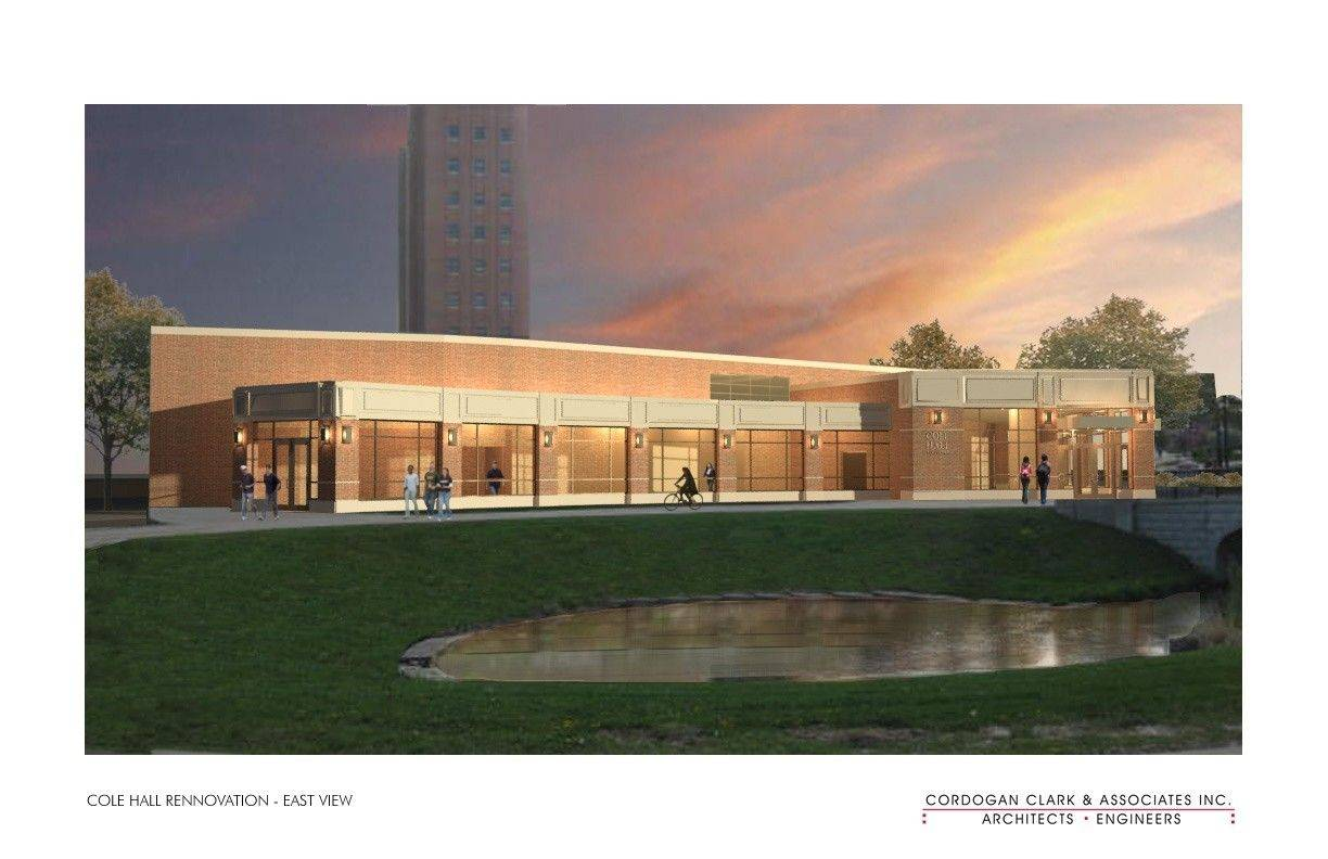 An architectural drawing shows the new exterior of NIU's Cole Hall, scheduled to reopen this fall after being shuttered since five students were killed in a shooting in 2008.