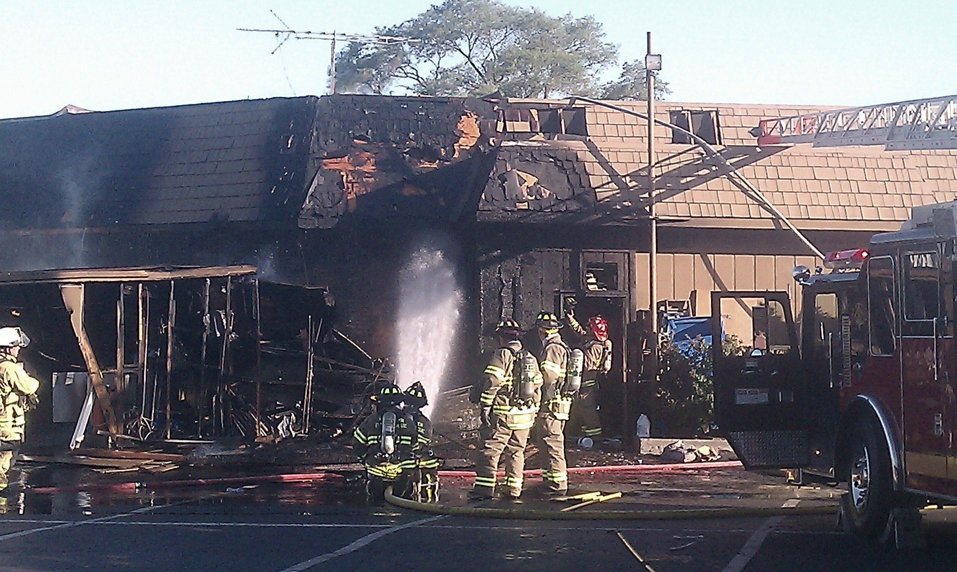 The fire at Salerno's on the Fox in St. Charles was still burning as of 7:25 p.m. Wednesday due to a gas leak.