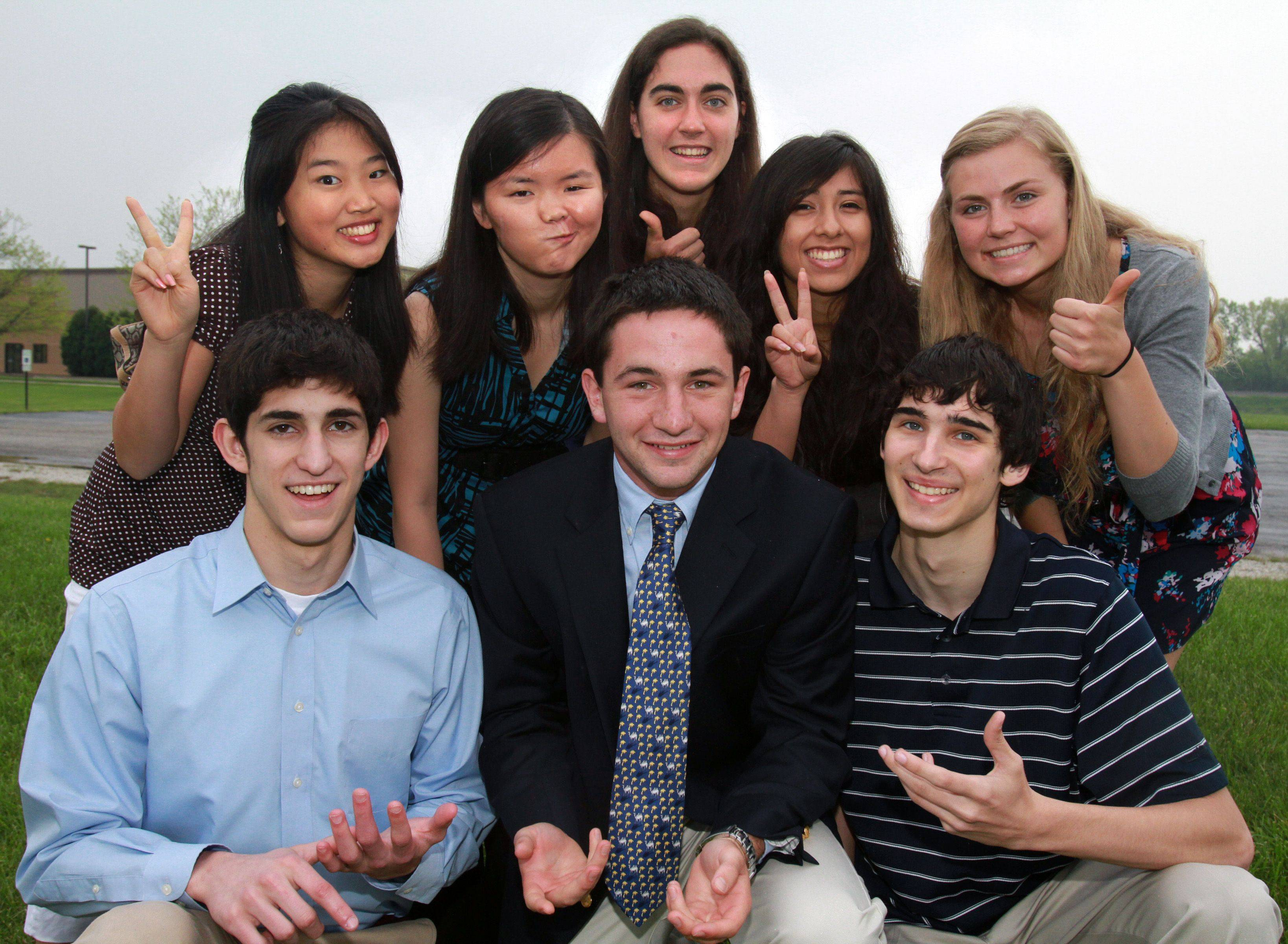 Meet the 2010-11 Lake County Academic Team. Back row, left to right: Haisi Liu, Warren Township High School; Moya Chen, Vernon Hills High School; Erika Danckers, Libertyville High School; Brianna Leon, Grayslake North High School; Susan Delgado, Warren Township High School. Front row, from left: Mitchell Boynton, Libertyville High School; Graham Harwood, Lake Forest Academy; Jason Lewitzke, Grayslake North High School. Not pictured: Eilrayna Gelyana and Jenny Yan, both of Stevenson High School.