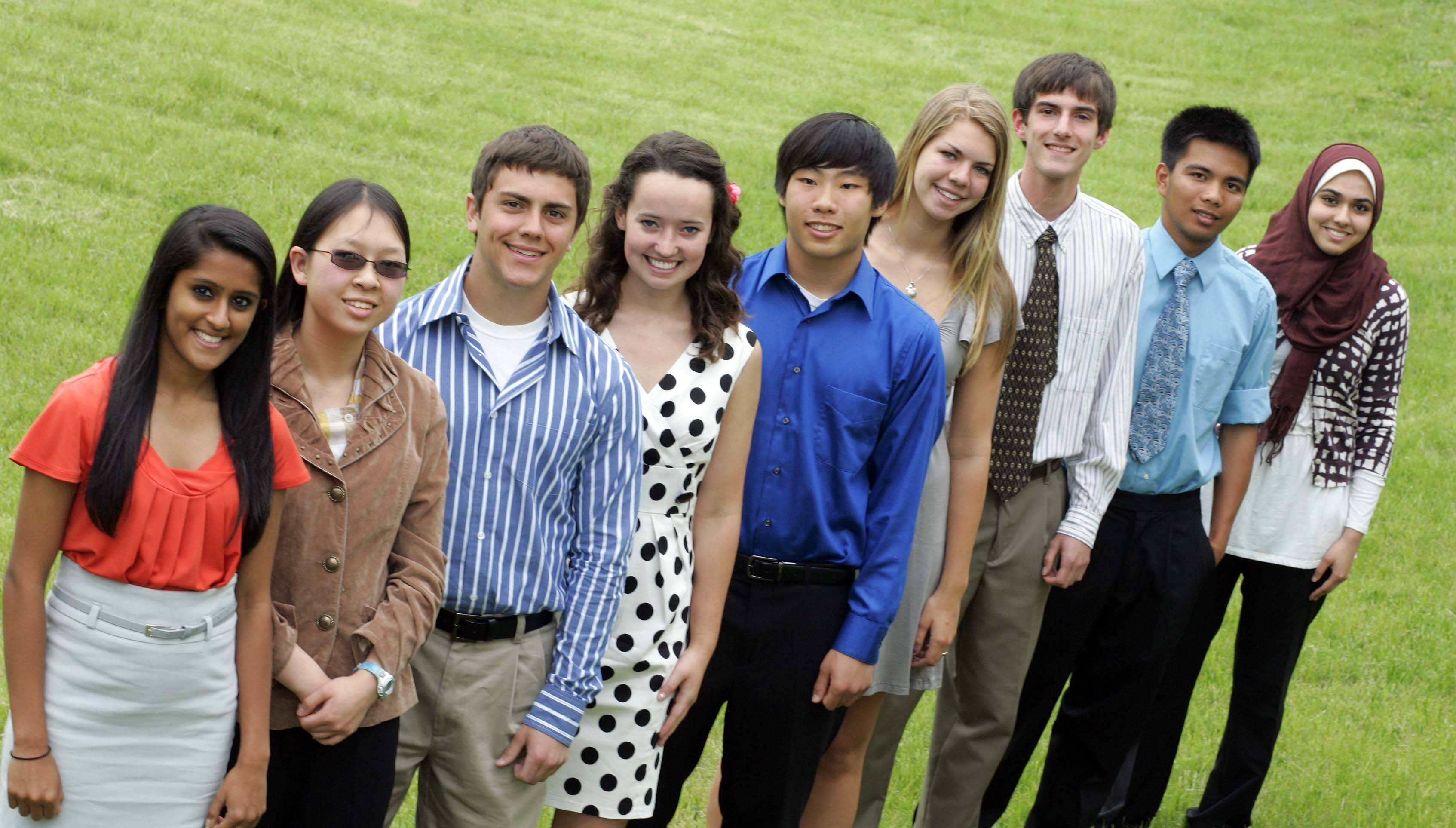 The 2010-11 Fox Valley Academic Team, from left: Riti Chokshi, Elgin High School; Stephanie Cheng, Illinois Math and Science Academy; Jake Surges, Jacobs High School; Caitlin Ward, Elgin Academy; Paul Yuan, Illinois Math and Science Academy; Megan McFarland, Batavia High School; Paul Jerger, Central High School (Burlington); A.G. Navarro, Huntley High School; and Fakhra Ahmad, Elgin High School. Not pictured: Collin Waldoch, Geneva High School.