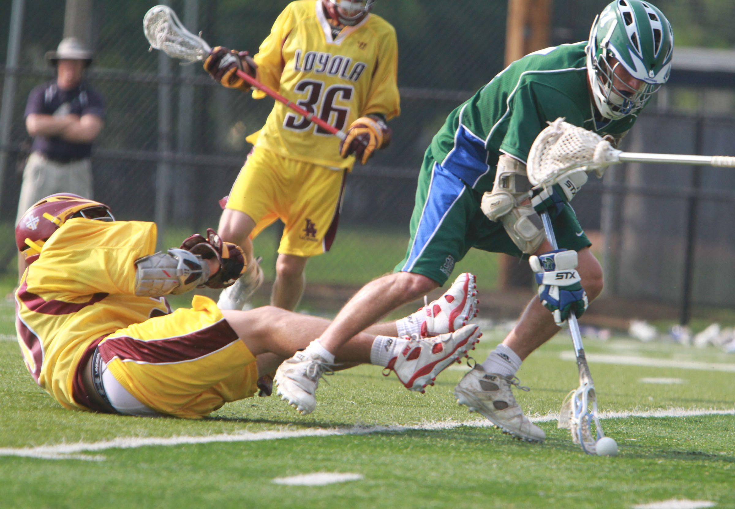 Loyola Academy vs New Trier in IHSLA state lacrosse championship in Oak Park on Saturday.