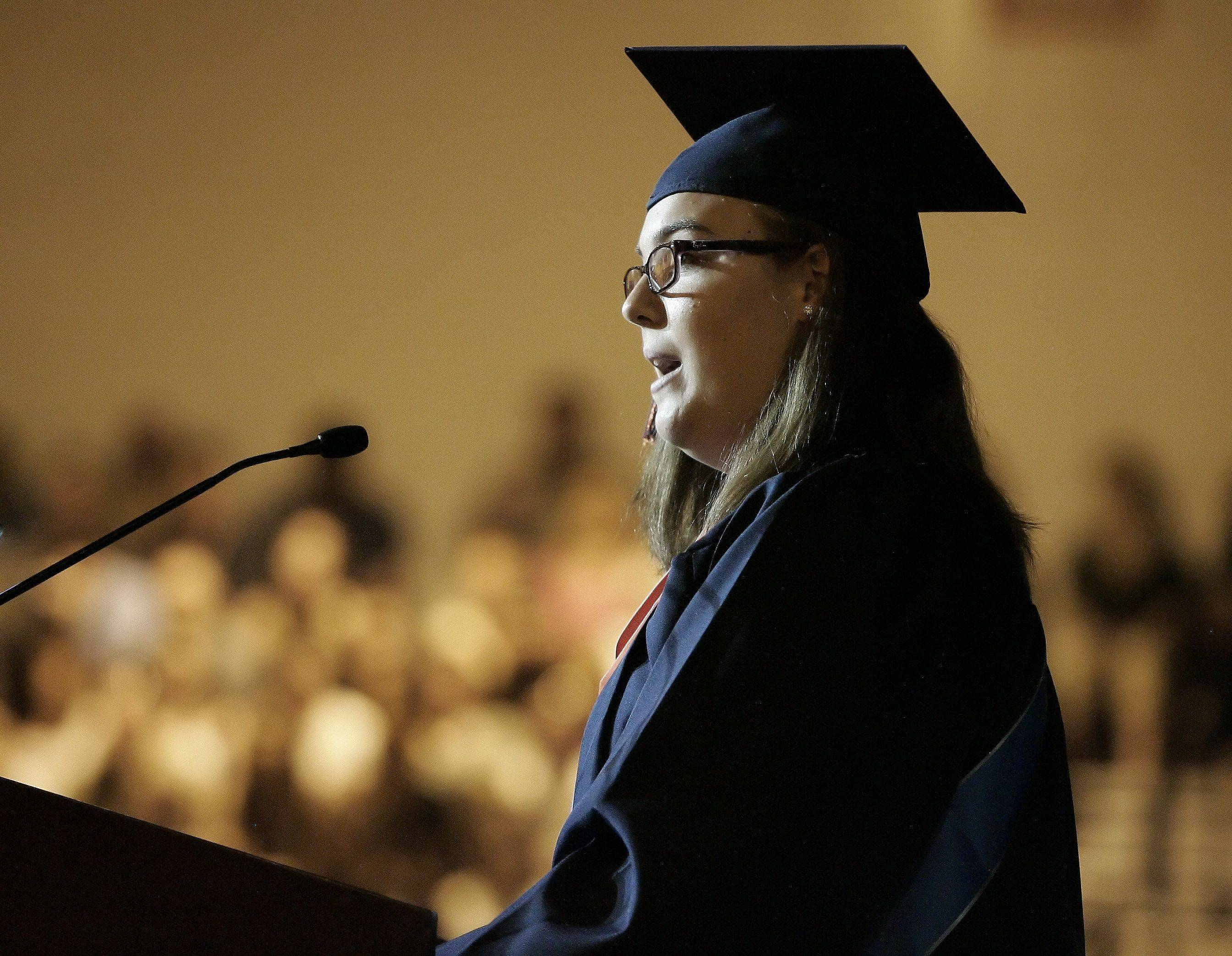 Katherine Merriott addresses the audience during the Buffalo Grove High School graduation Sunday, June 5.