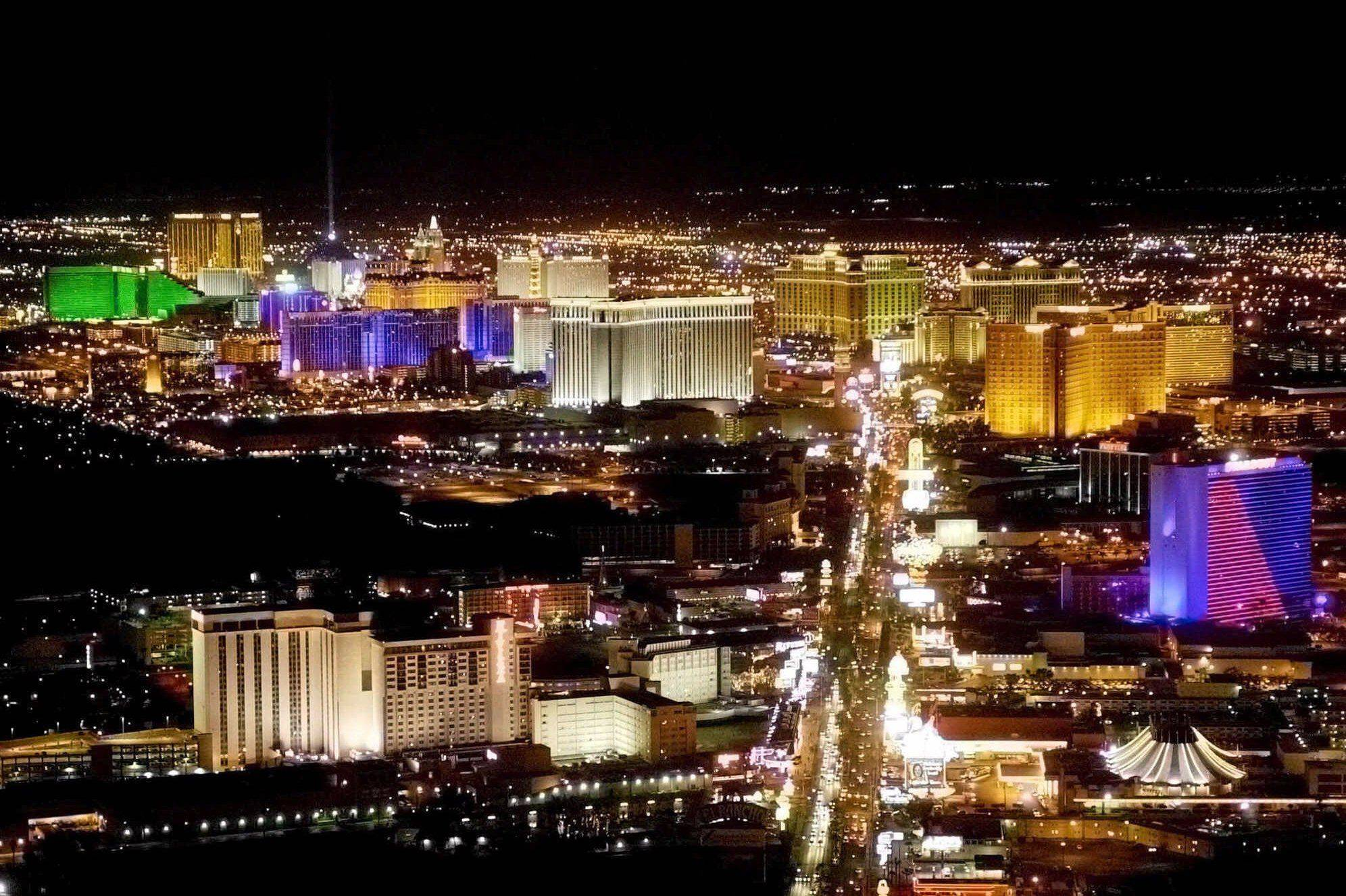 The Las Vegas Strip lights up the night with its casinos and resorts.