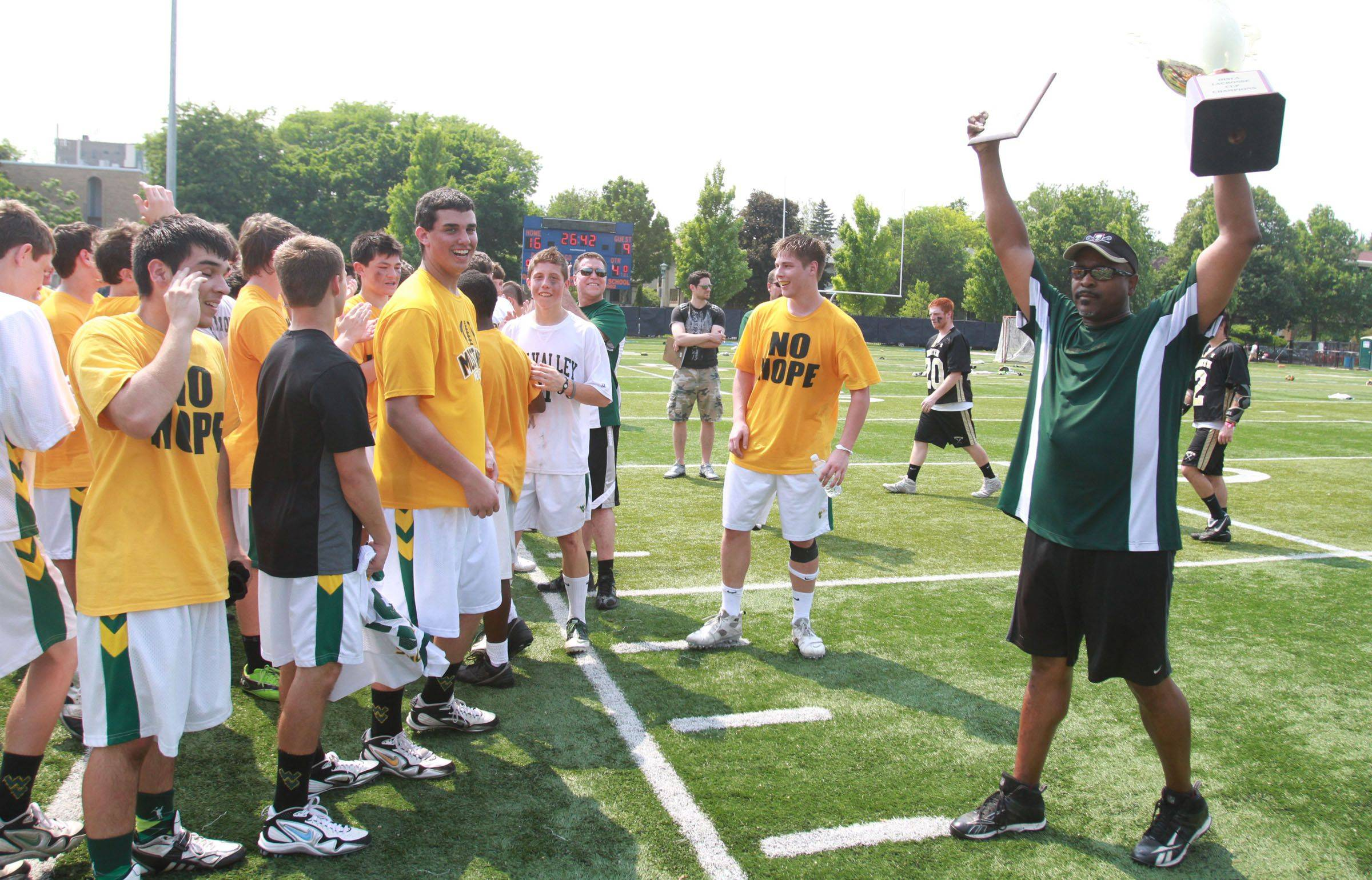 Waubonsie Valley celebrates the result of talent meeting teamwork, with a Lacrosse Cup victory over Grayslake North in Oak Park on Saturday.