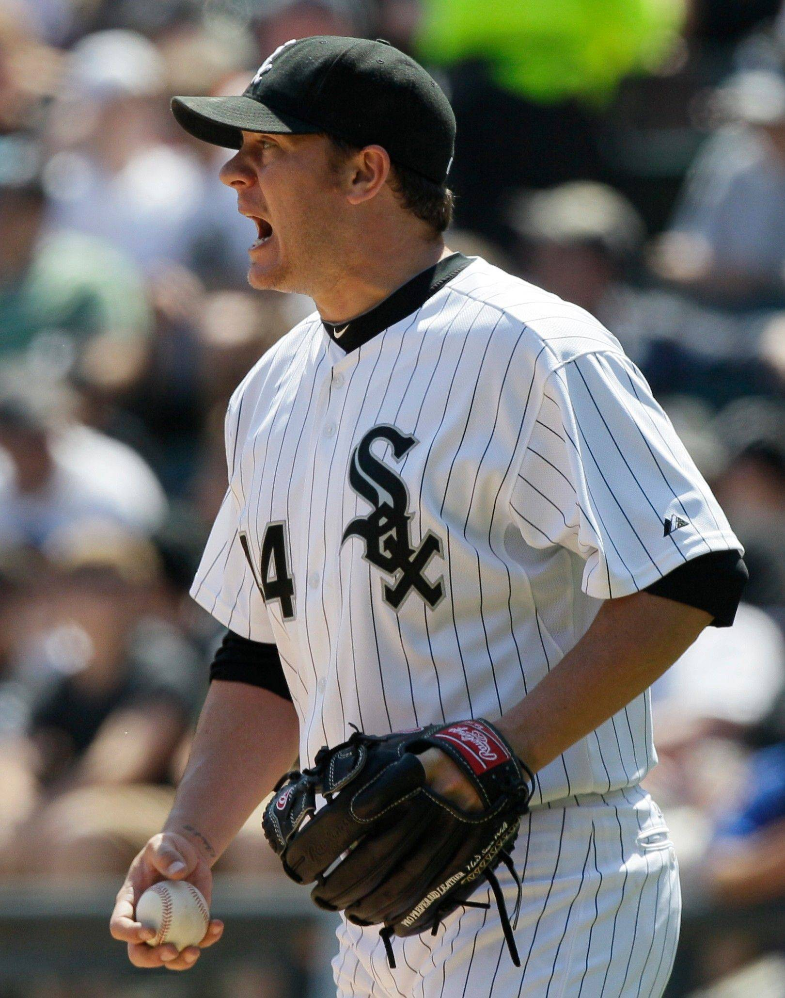 White Sox starter Jake Peavy reacts during the Tigers' 6-run fourth inning Sunday at U.S. Cellular Field.