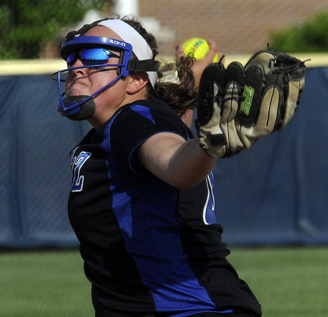 Lake Zurich's pitcher Megan Mattera brings the heat to New Trier in the Class 4A Glenbrook South softball supersectional title game on Monday.