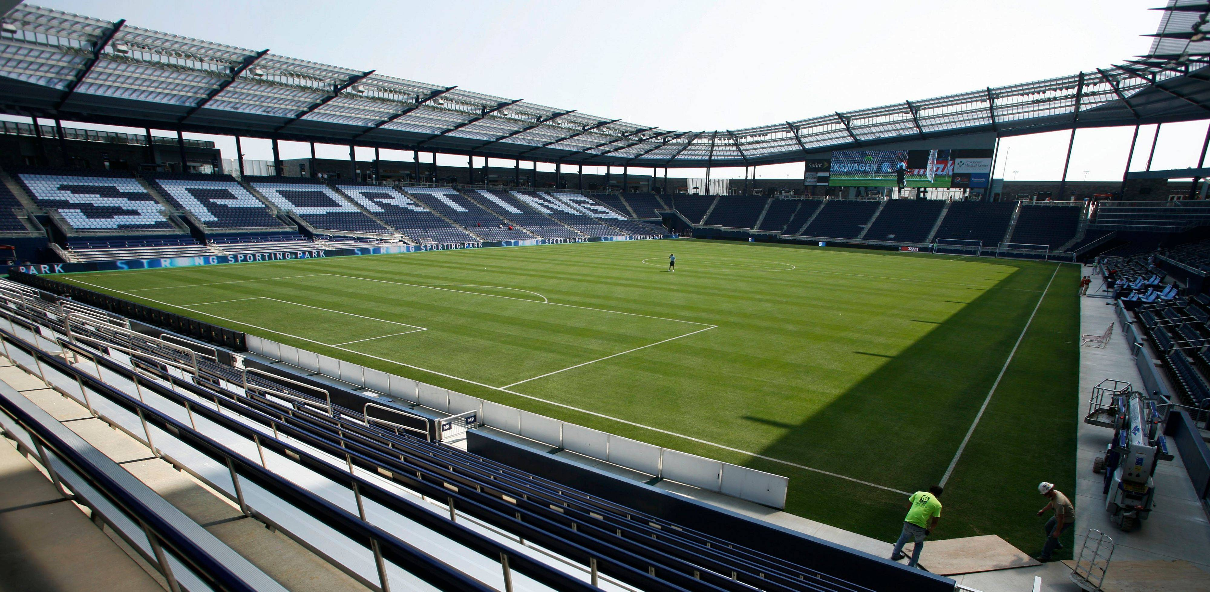 Workers put in the final touches at Livestrong Sporting Park in Kansas City, Kan., on Tuesday The high-tech, $200 million MLS home for Sporting Kansas City opens Thursday nightwhen they host the Chicago Fire.