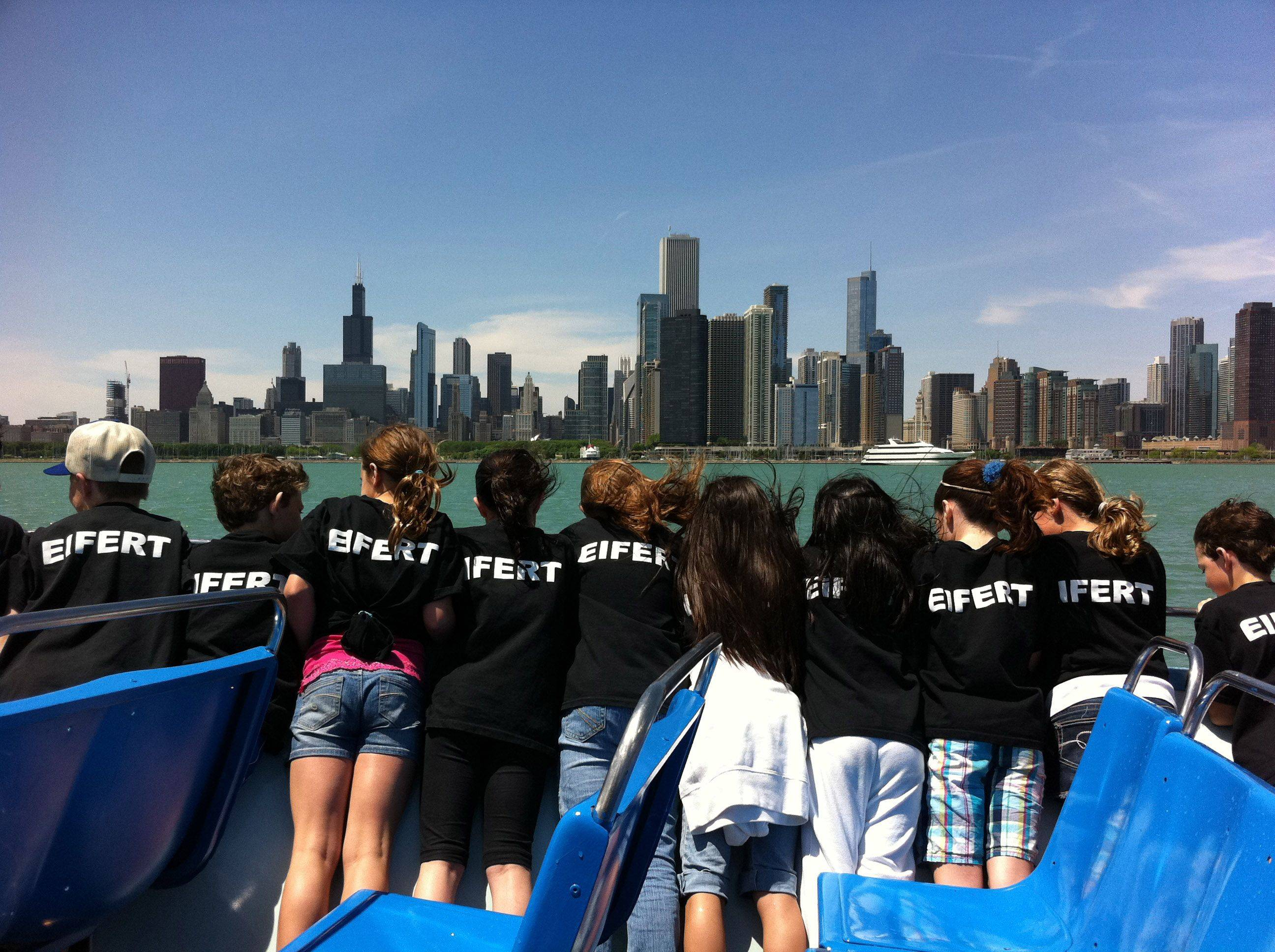 During a Lake Michigan boat trip, Fremont Intermediate School's third grade class watches the Chicago skyline while on a field trip earlier this month.