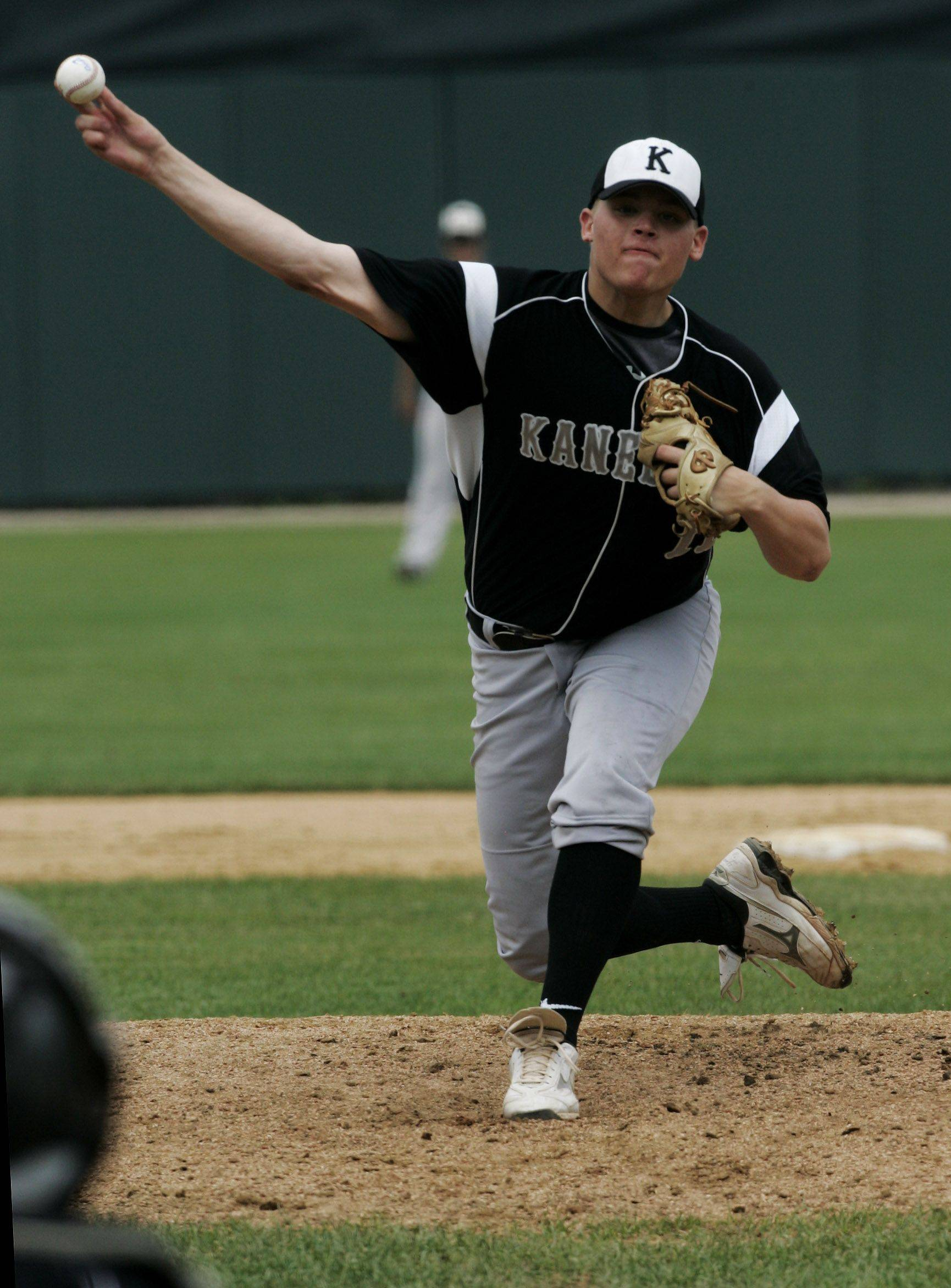 Kaneland's Bobby Thorson throws a pitch against Waterloo.