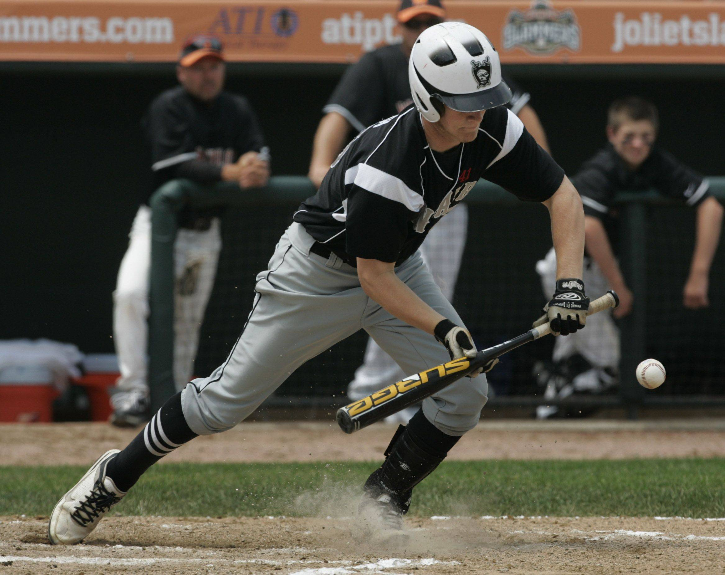 Kaneland batter Drew French attempts a bunt.