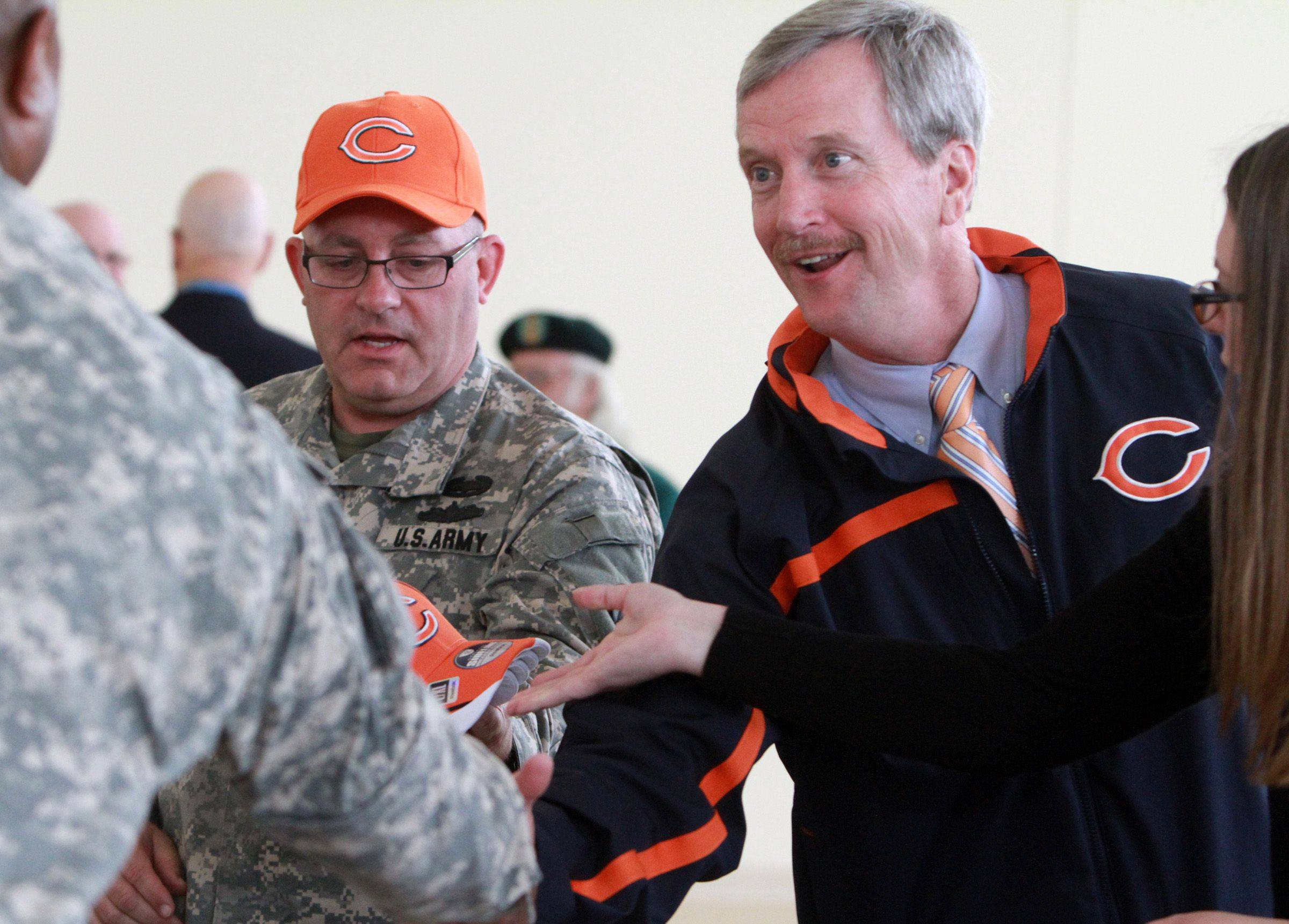 As chairman of the Chicago Bears, George McCaskey believes in being active in the community. On Thursday he delivered Bears hats and flags to personnel with U.S. Reserve 226th Port Management Team after speaking to them during a farewell ceremony at Fort Sheridan. The reservist unit will spend a year serving in Kuwait.