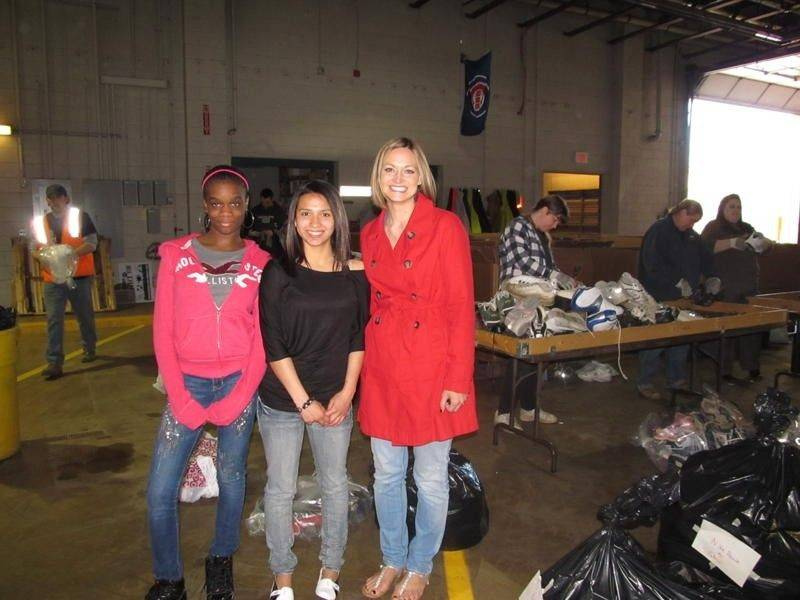 Teacher Lara Buti and students from North Shore Academy participate in shoe recycling for the first time.