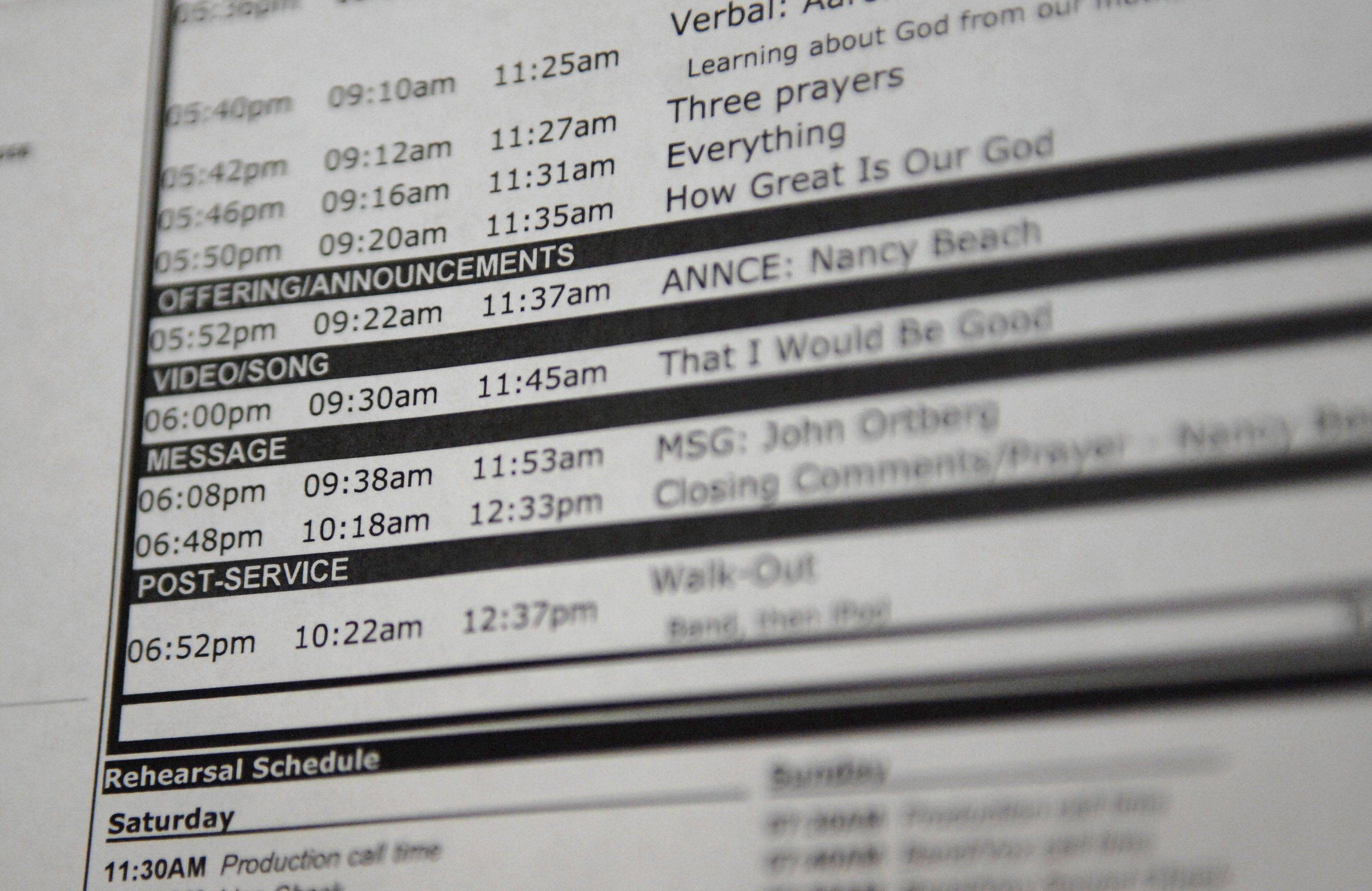 A detailed and jam-packed schedule for a Willow Creek service in South Barrington.