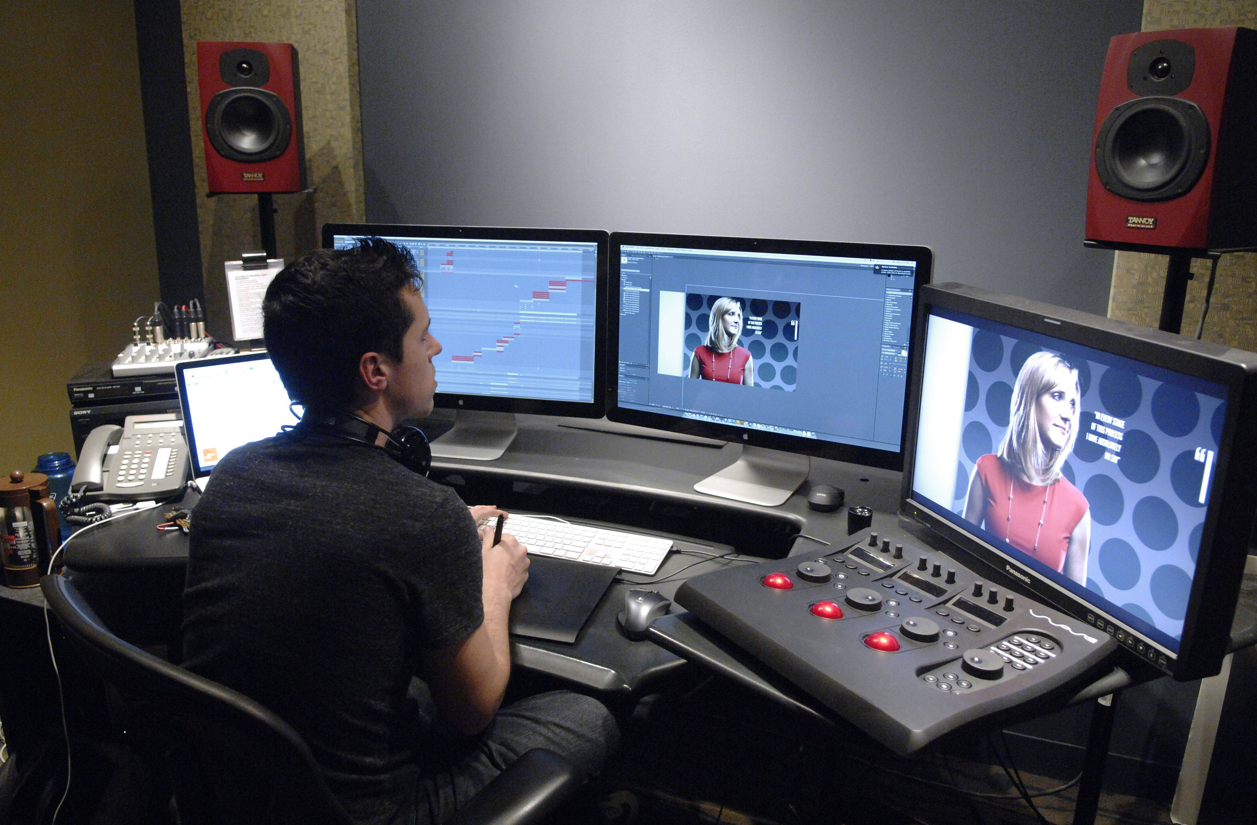 Video producer/editor Bjorn Amundsen works in one of the video editing suites at Willow Creek Church in South Barrington.