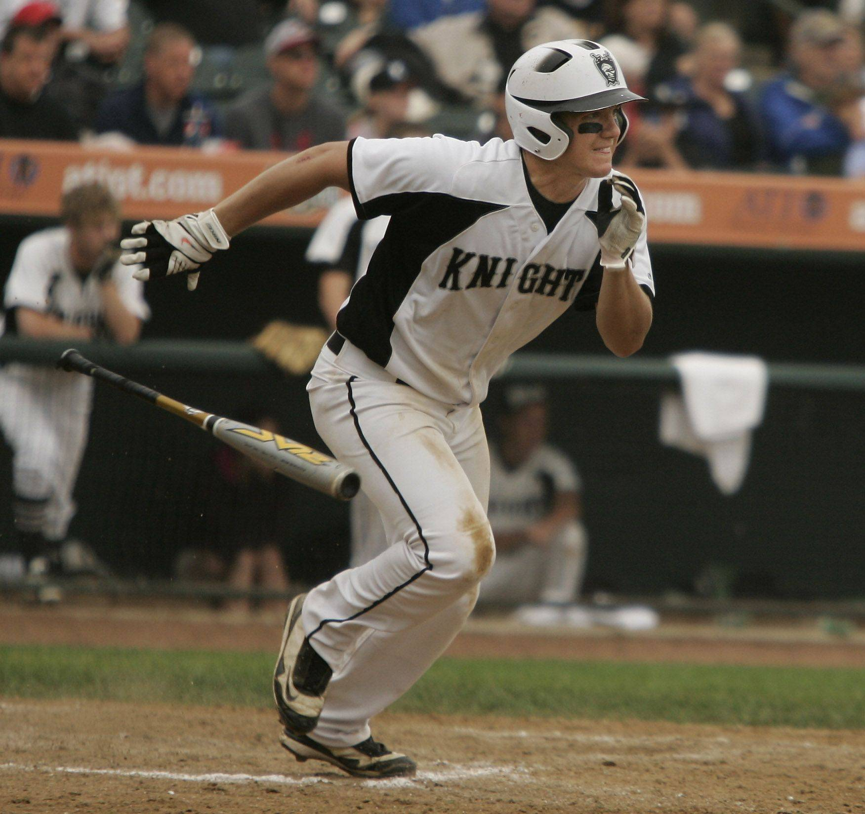 Kaneland batter Joe Camiliere gets three hits and three runs during the Kaneland vs. Oak Forest boys high school baseball game Saturday in the Class 3A state finals at Silver Cross Field in Joliet. Kaneland defeated Oak Forest 11-3 to win the state championship.