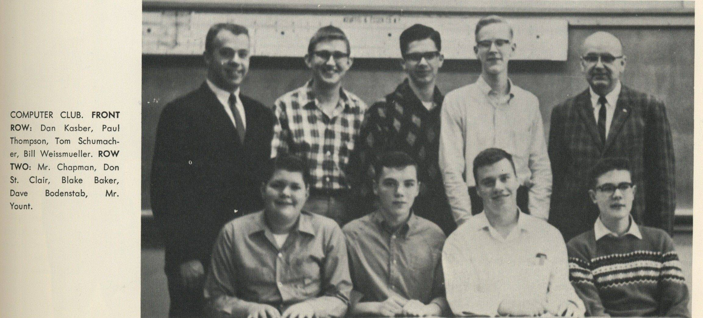 With an eye on the future, Paul Thompson (second from left on the front row) and other 1965 members of the computer club at Prospect High School needed a field trip to IBM to see a computer.