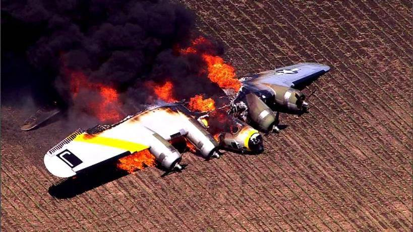 An aerial view of the B-17 on fire in Oswego.