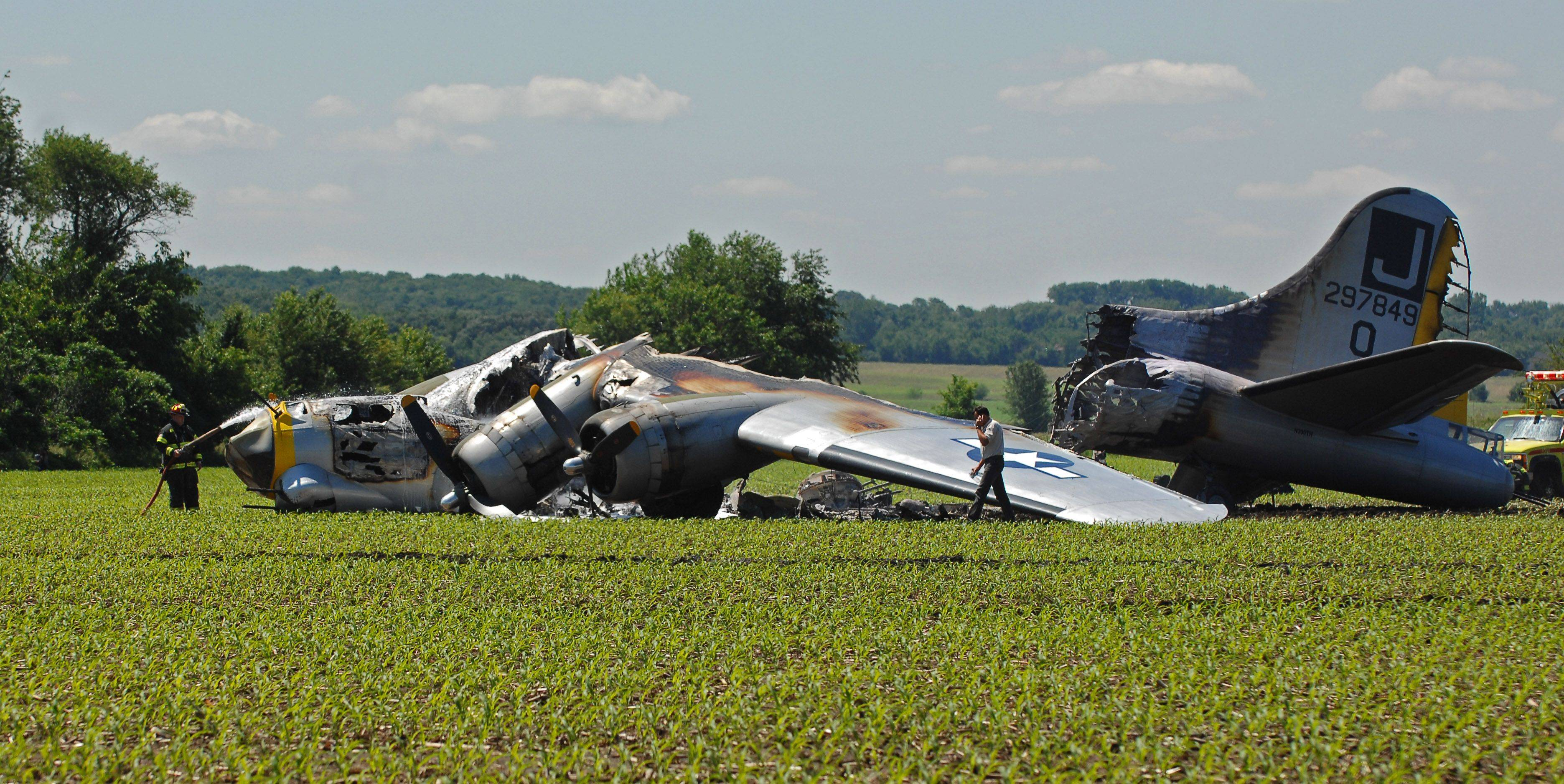 A B-17 bomber made an emergency landing in an Oswego cornfield Monday morning.