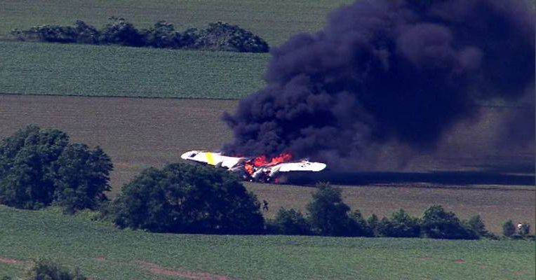 An aerial view of the B-17 on fire in the Oswego area.