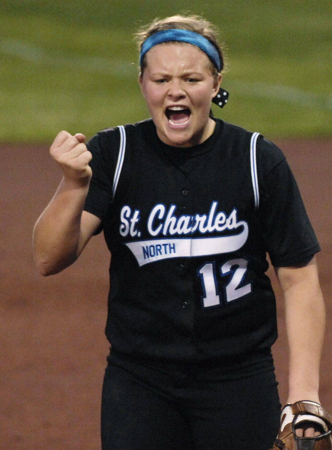 St. Charles North pitcher Amanda Ciran against DeKalb in the class 4A supersectional at Northern Illinois University Monday.