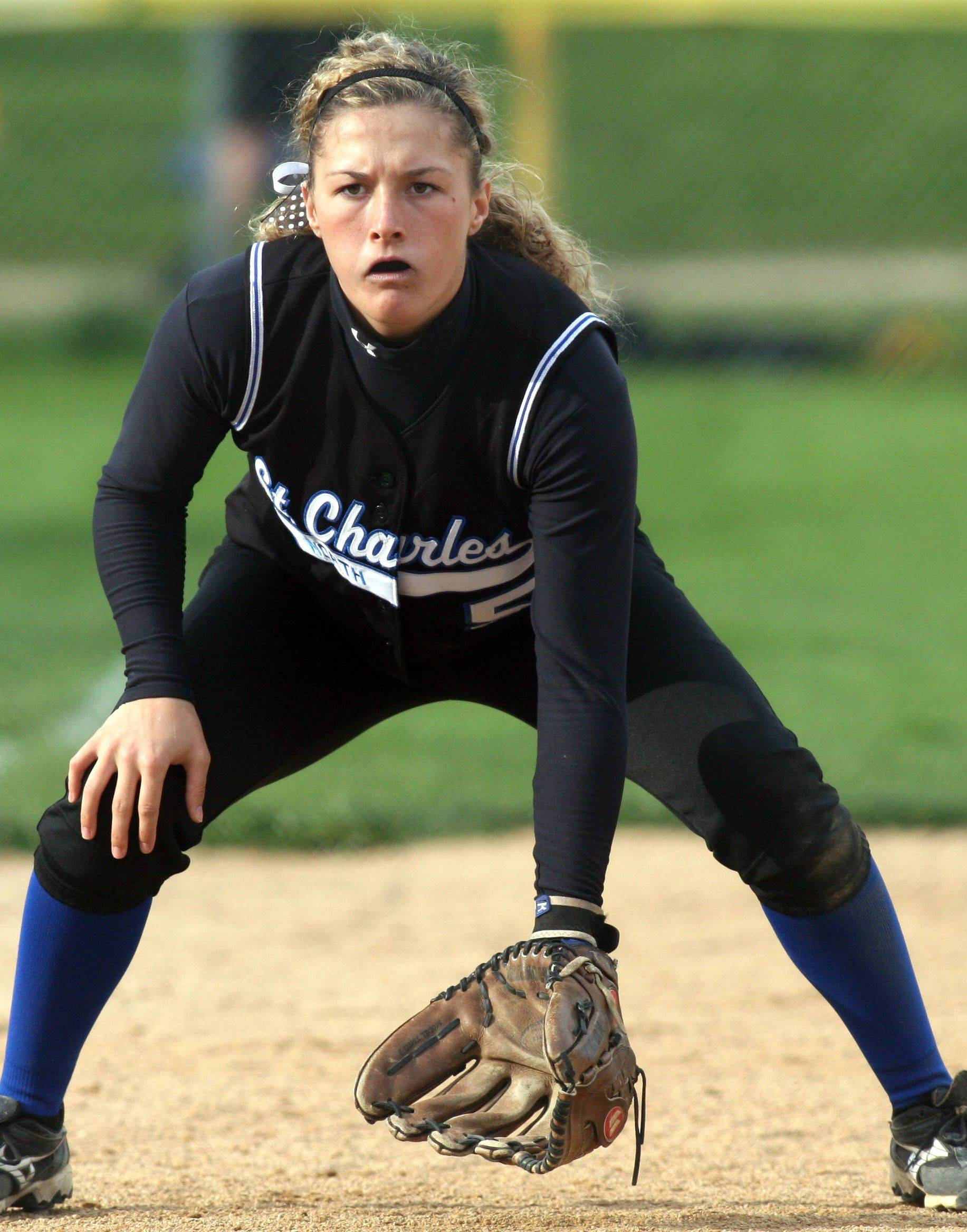 Third baseman Taylor Russell of St. Charles North prepares for action during varsity softball action at Elgin High School Monday evening.
