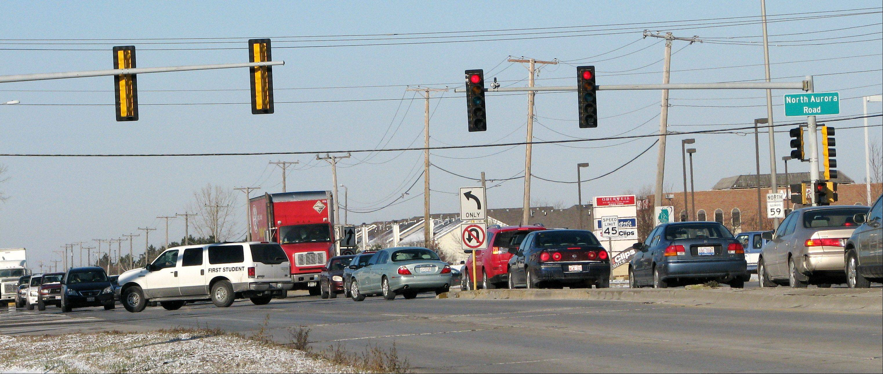 Red-light violations have decreased 65.1 percent at the intersection of North Aurora Road and Route 59 when comparing data from the three-month periods of February to April 2009 and January to March 2011.
