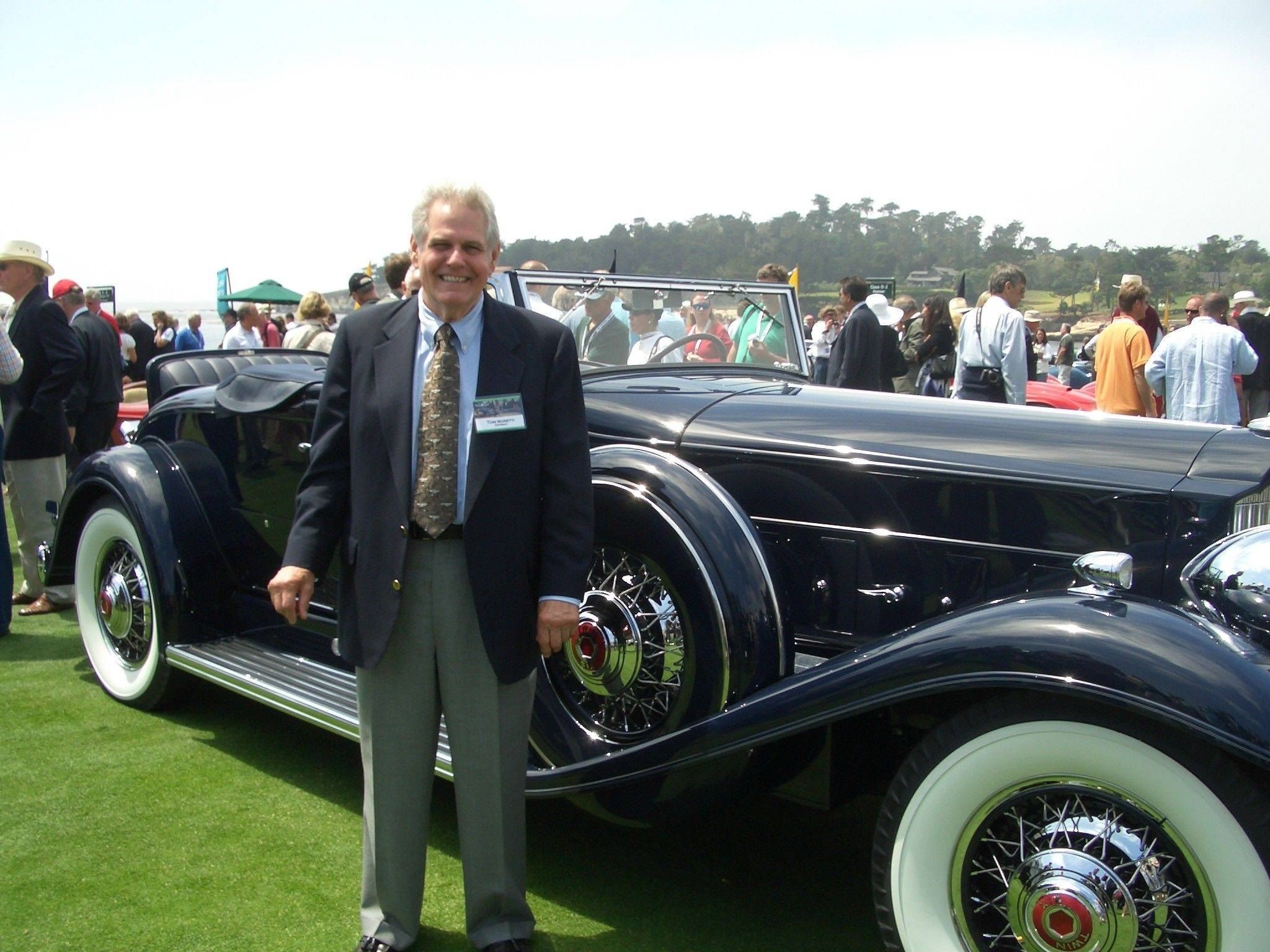 Courtesy of Joette DuranThomas A. Moretti of Inverness poses with the 1932 Packard Twin Six 905 Coupe Roadster that won first place in the 2009 Pebble Beach Concours d'Elegance after he restored it.