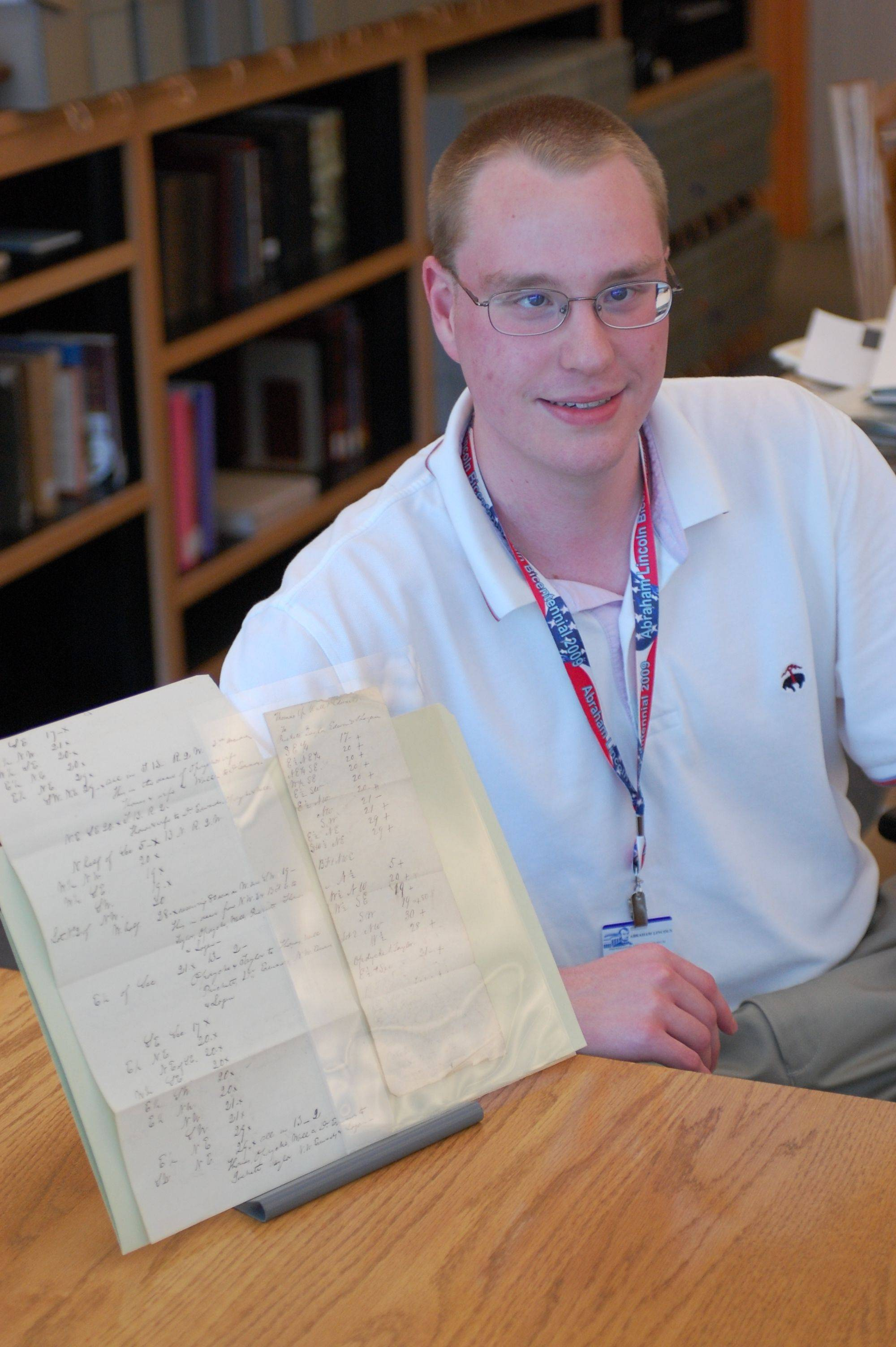 David Spriegel of Gurnee was in his first weeks as an intern for the Abraham Lincoln Presidential Library and Museum in Springfield when he discovered two previously unknown documents handwritten by Lincoln.