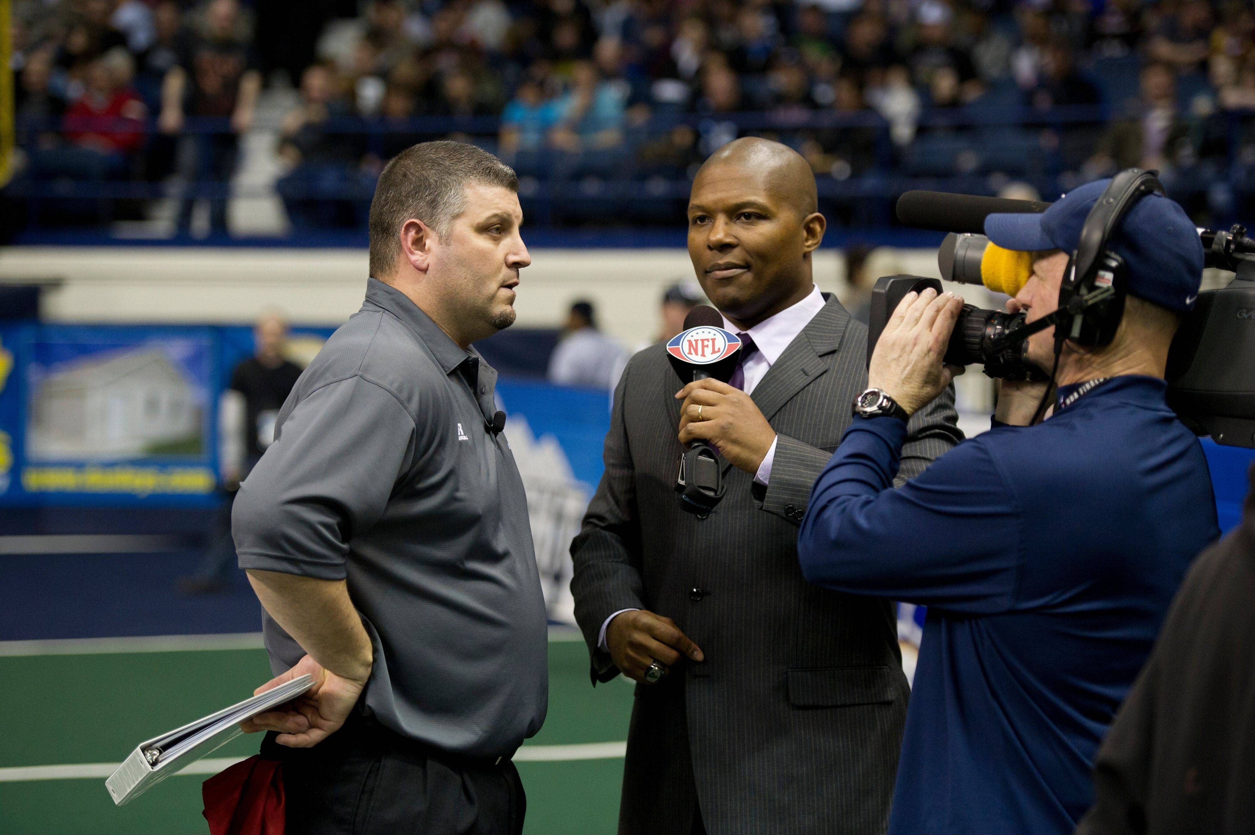 Chicago Rush head coach Bob McMillen, shown here during a sideline interview with the NFL Network crew, has his team on top of the Central Division with a 9-3 record. The Rush plays at the Spokane Shock on Saturday, and the next home game is June 26 against the Iowa Barnstormers.