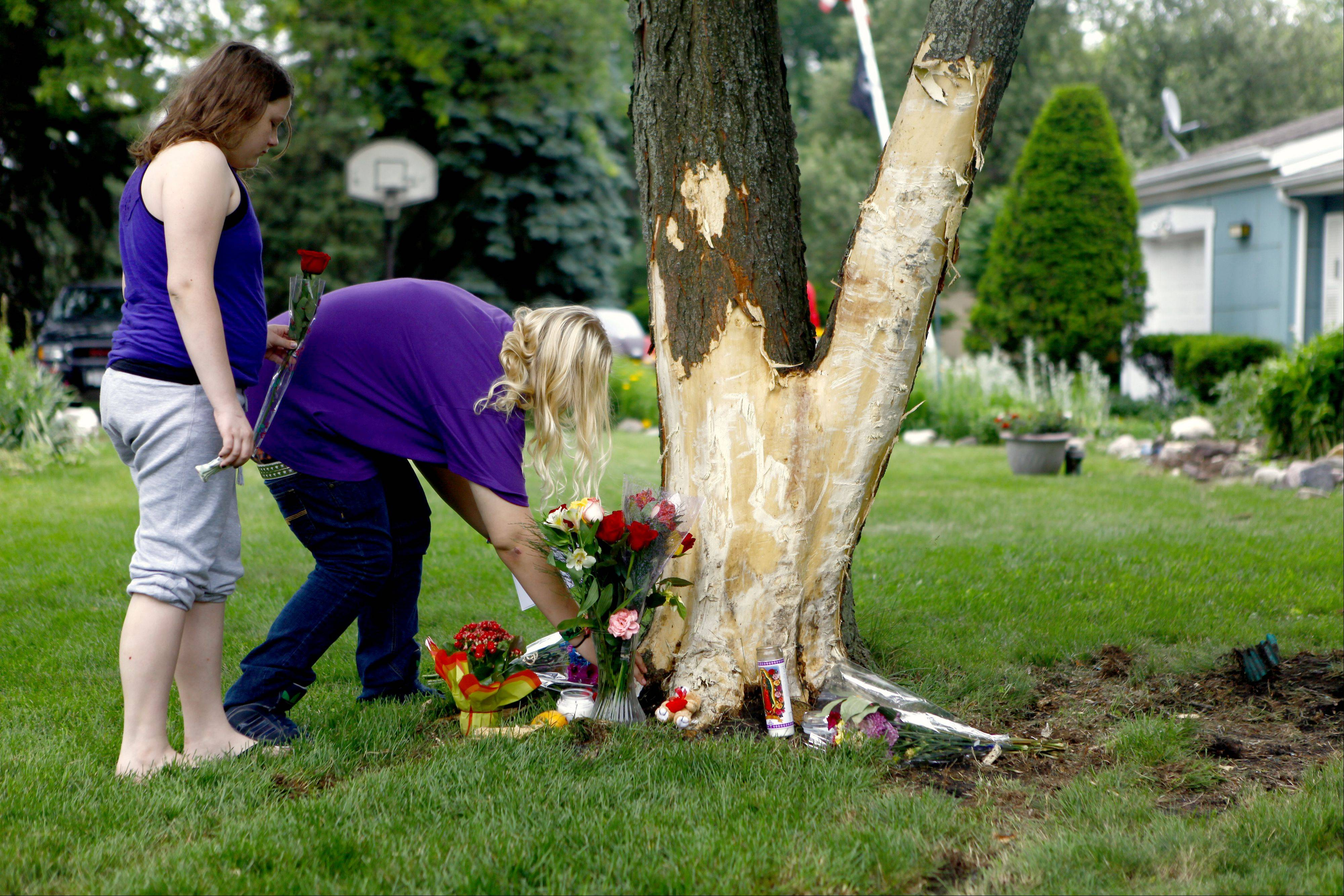Stephanie Hanns, 13, right, of Mount Prospect and her sister, Angie Lehmann, 10, lay roses Sunday afternoon at the tree where three Northwest suburban teens were killed early Saturday in Prospect Heights.