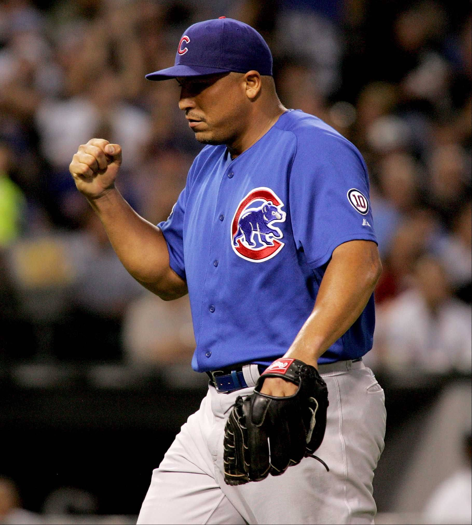 Carlos Zambrano reacts after striking out Paul Konerko.