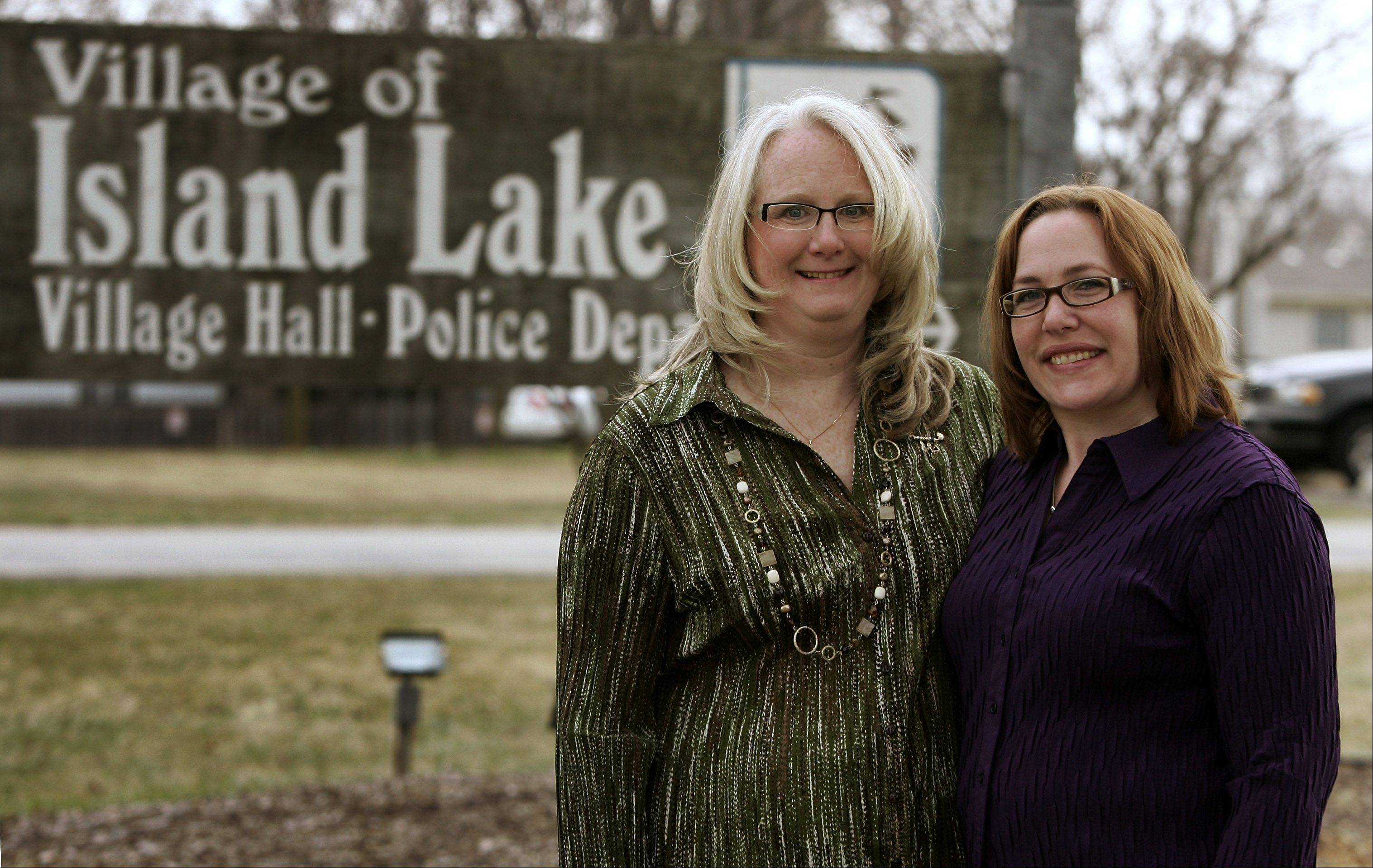 New trustees Thea Morris, left, and Shannon Fox have helped defeat recent veto overrides in Island Lake.