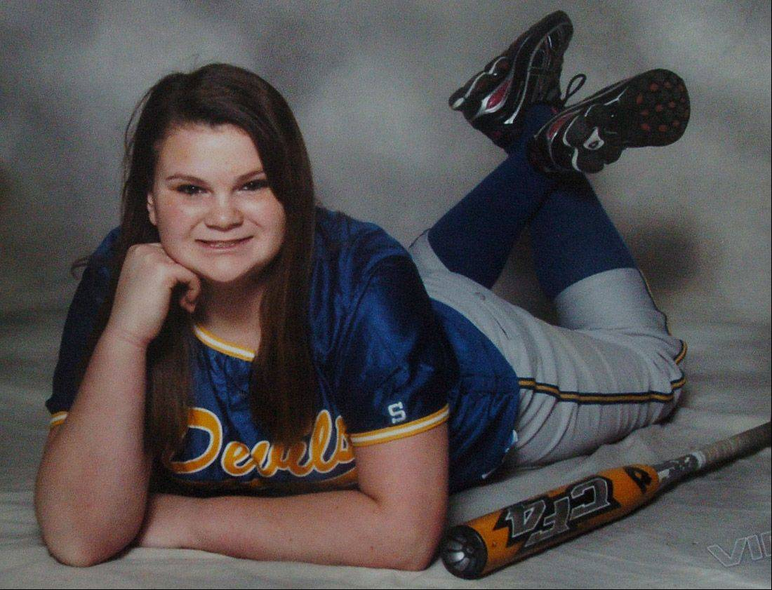 Taylor Stinchcomb in her softball uniform.