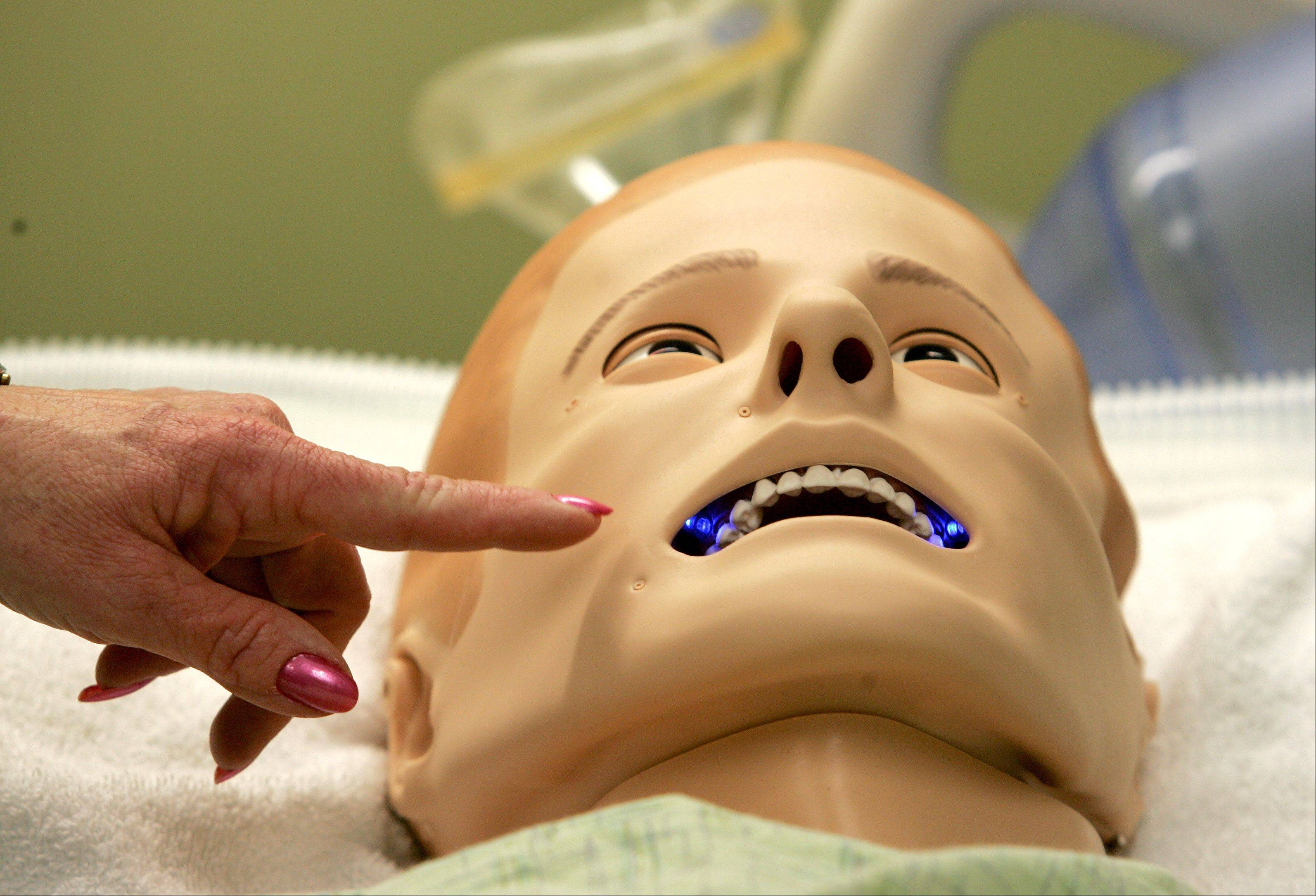 "The SimMan 3G is designed to help nurses and others practice critical thinking skills in real time. ""Malcolm's"" mouth will turn blue if he's not getting enough oxygen,"