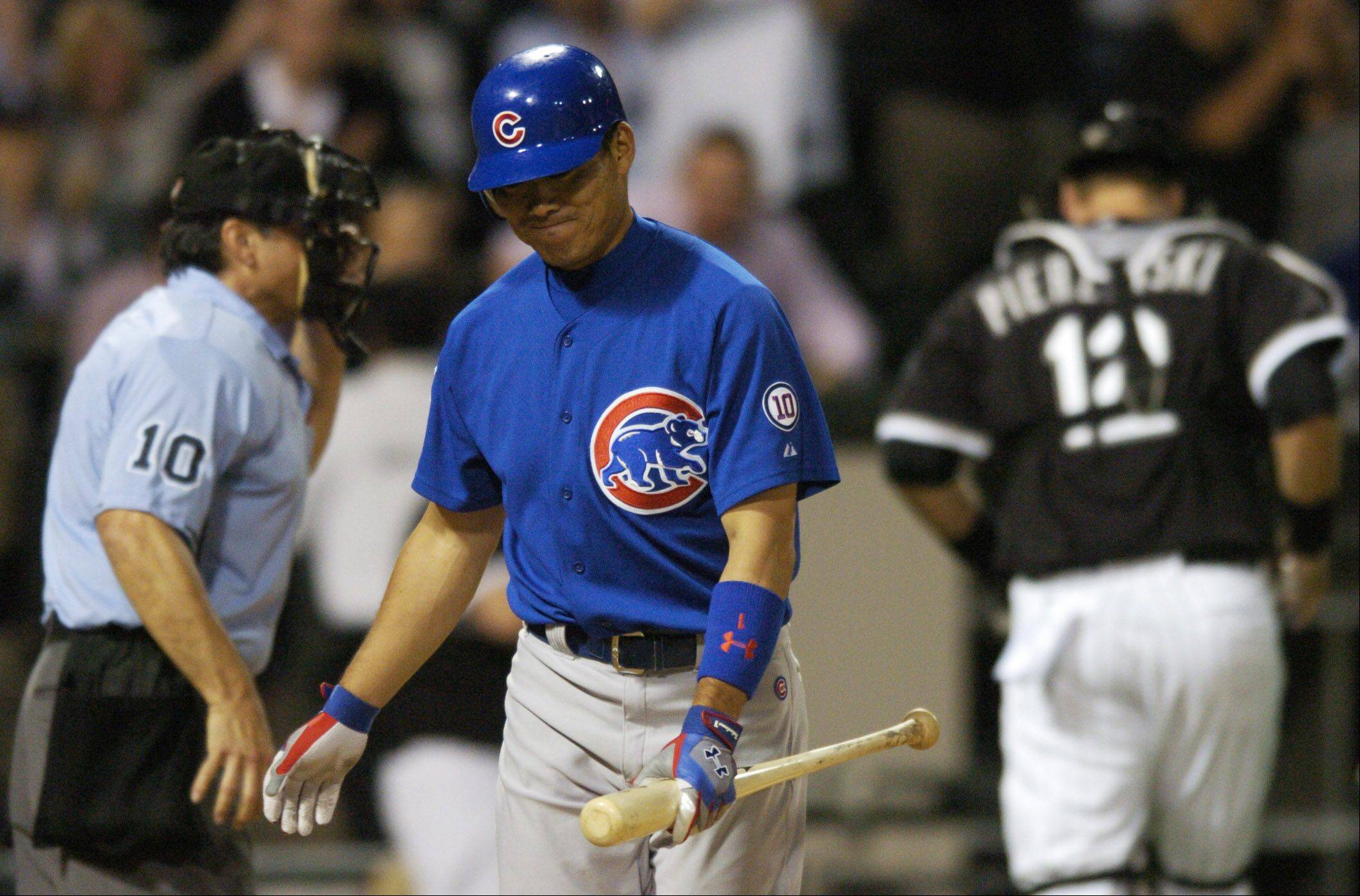 Kosuke Fukudome walks back to the dugout after striking out with a man on thrid to end the eighth during Wednesday's 4-3 loss to the Sox at U.S. Cellular Field.