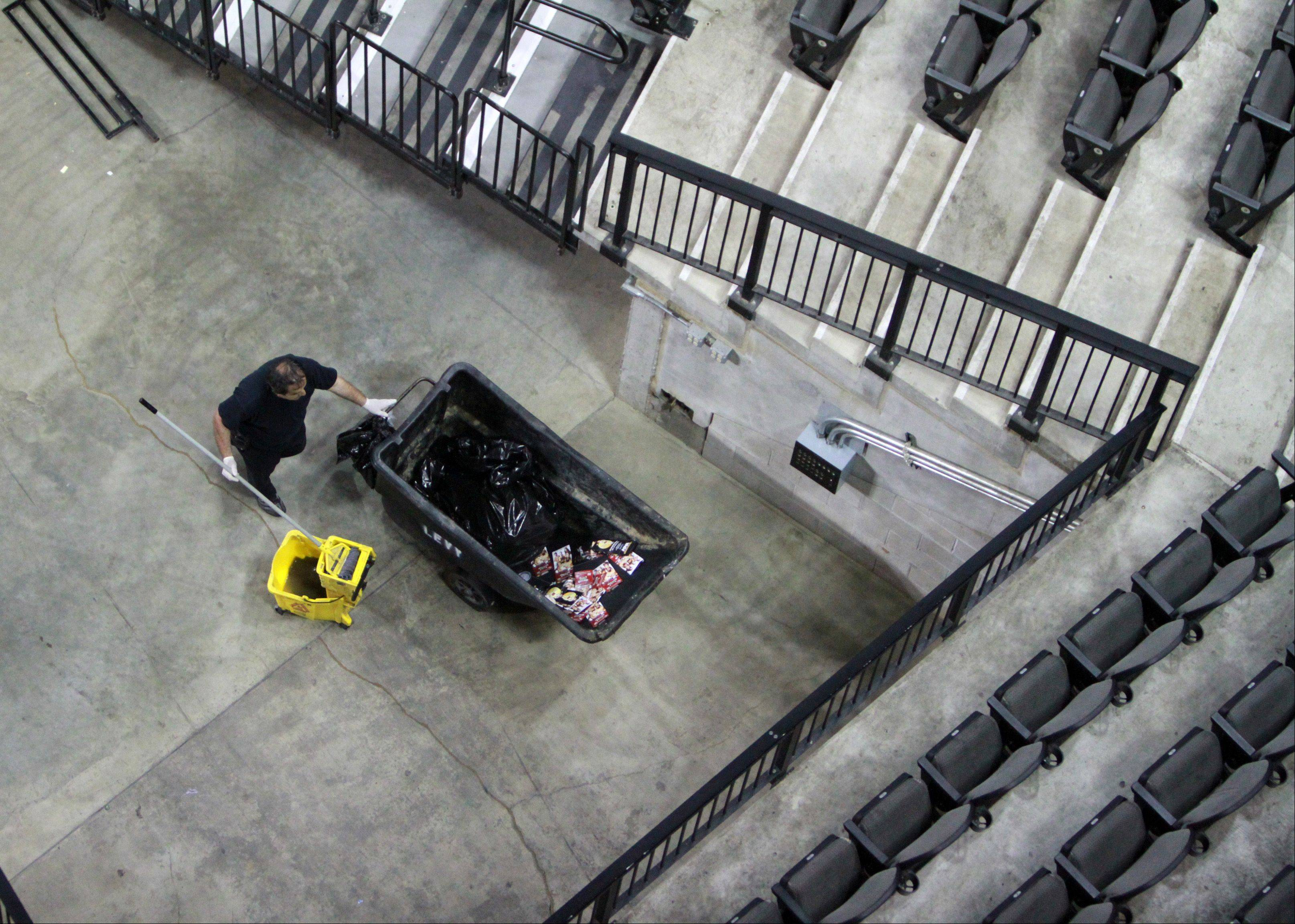 Twenty-five workers are employed to clean the Sears Centre after every one of the 130 shows each year.