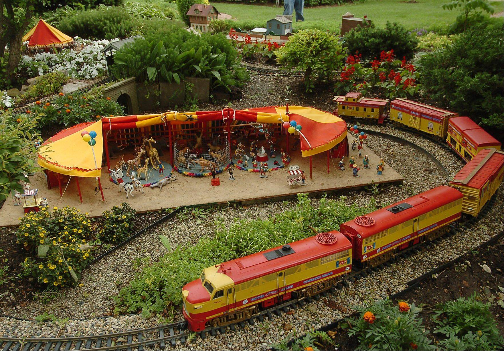 Circus train on Elaine Silets' garden railroad.