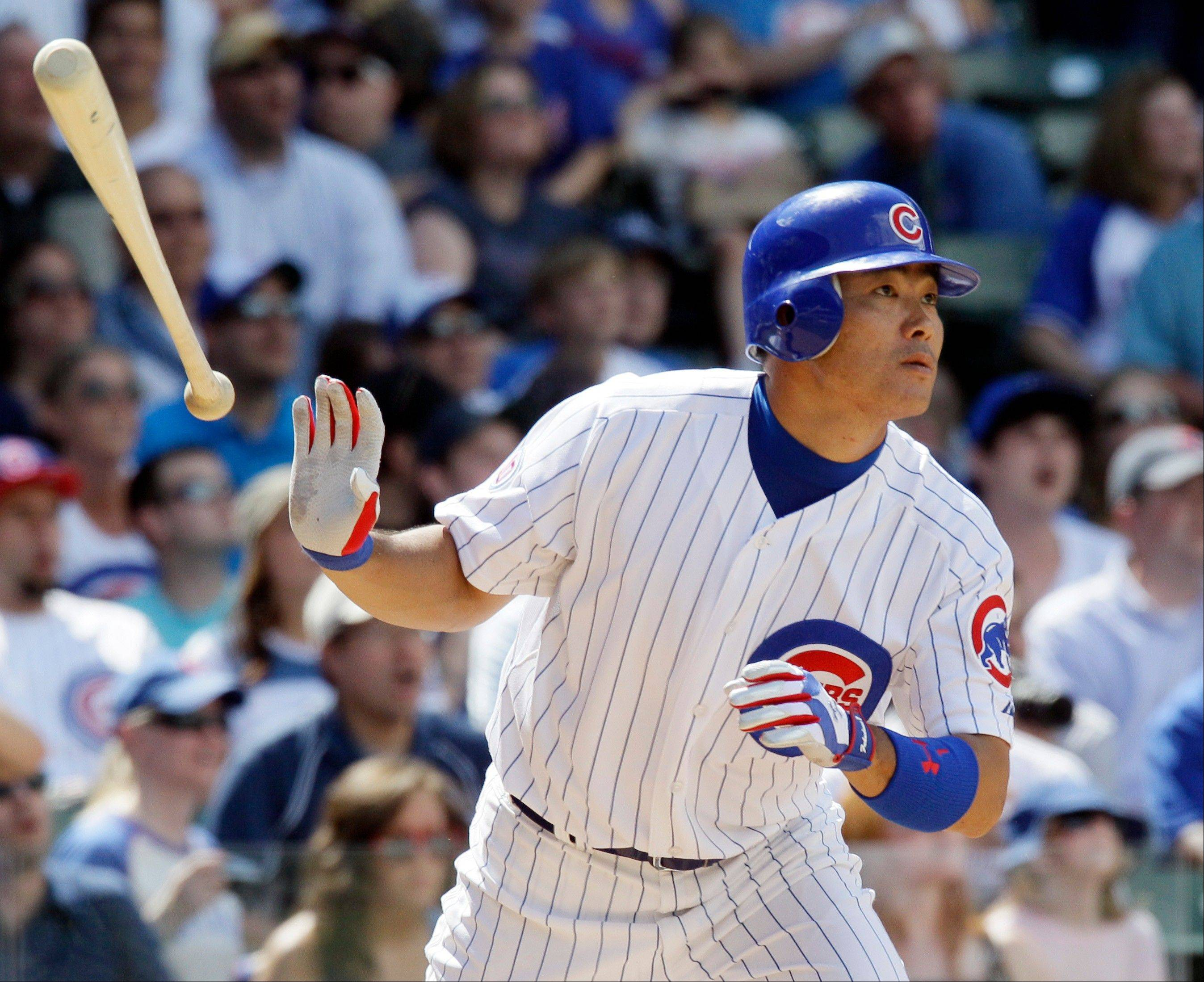 Kosuke Fukudome watches after hitting a three-run home run against the Milwaukee Brewers during the sixth inning.