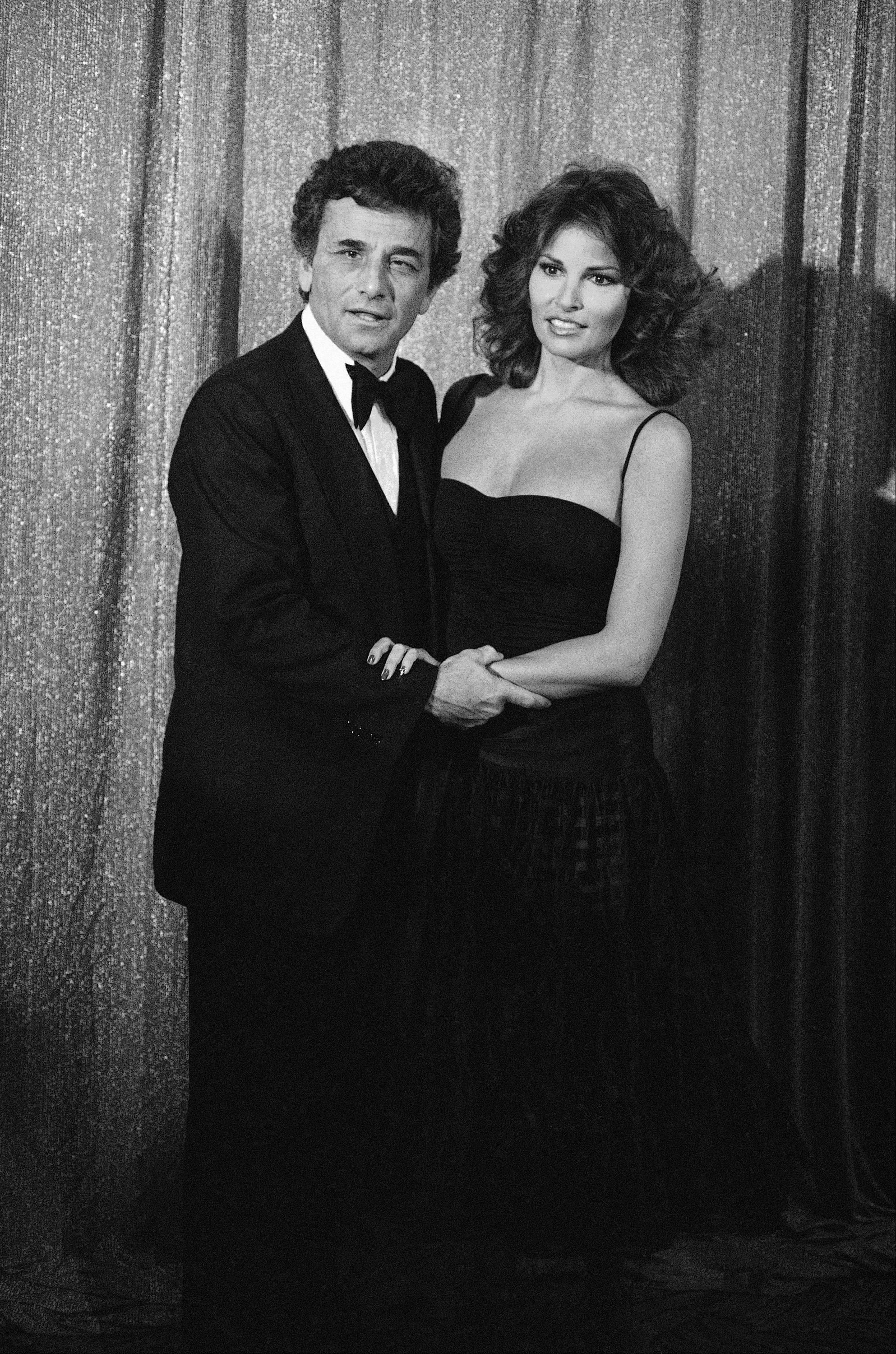 Peter Falk, left, and Raquel Welch at the Golden Globe Awards held in the Beverly Hilton Hotel, Jan. 29, 1977.
