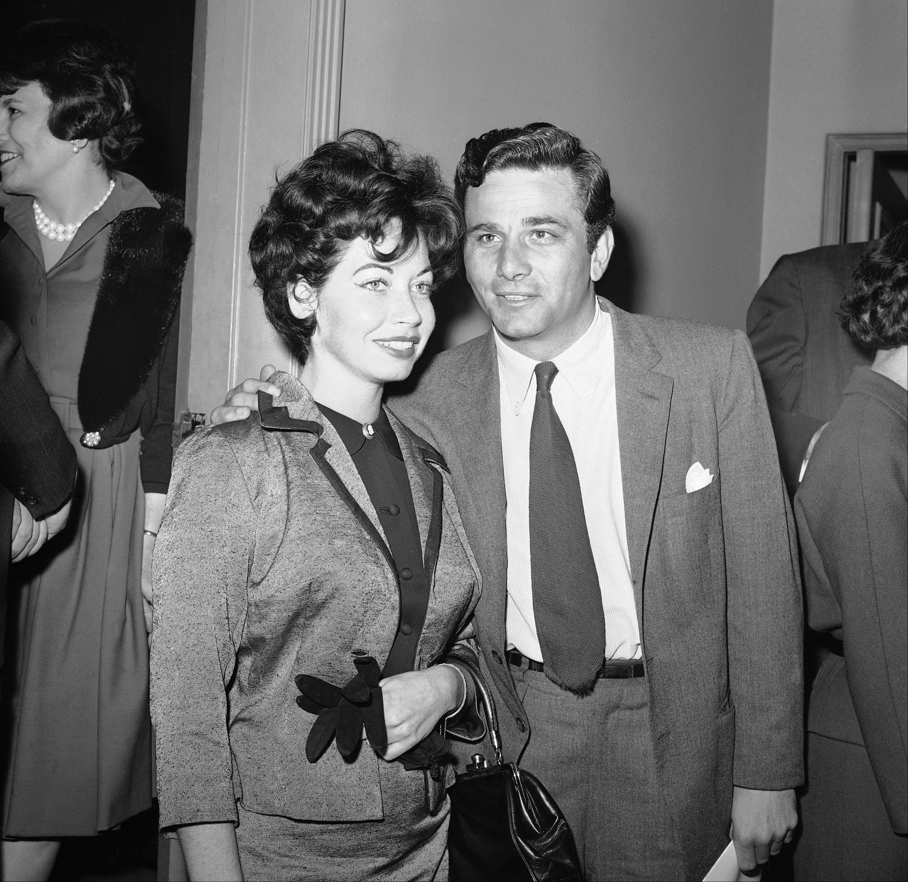 "Actor Peter Falk and wife arrive for the invitational preview of the film ""Reprieve"" at Hollywood's Academy Theater on March 26, 1962 in Los Angeles."