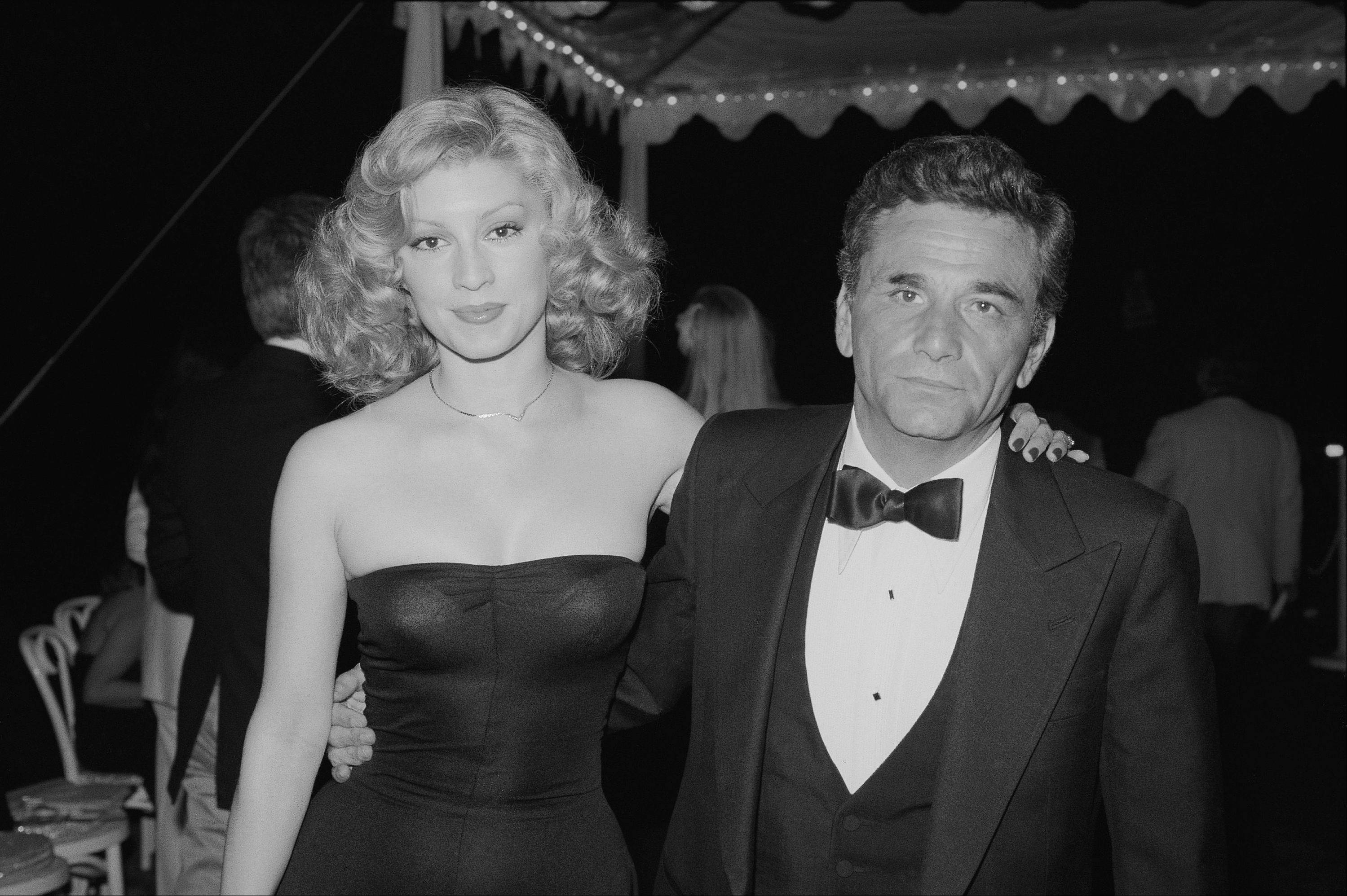 "Actor Peter Falk with Shera Danese at the ""Cocktails for Two"" party in Los Angeles, California in June 1977.."