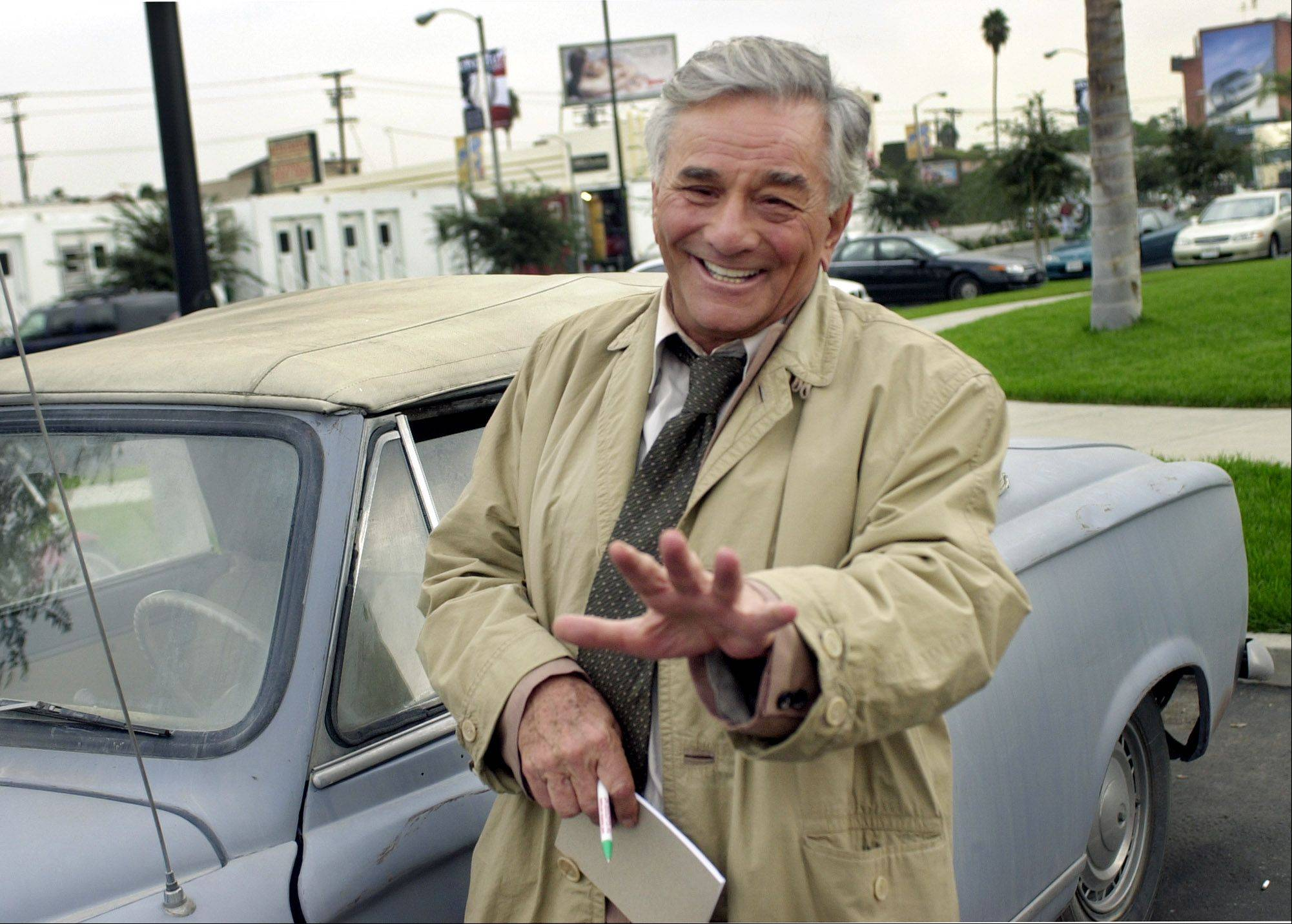 "Actor Peter Falk, 75, best-known for his role as the eccentric Lt. Columbo, gestures while on location for ""Columbo Likes the Nightlife"" Oct. 29, 2002, in Los Angeles. Falk, who first played the wily detective in the 1967 TV movie ""Prescription: Murder,"" now only occasionally makes a ""Columbo"" movie. The new film airs on ABC Thursday, Jan. 30, 2003.."
