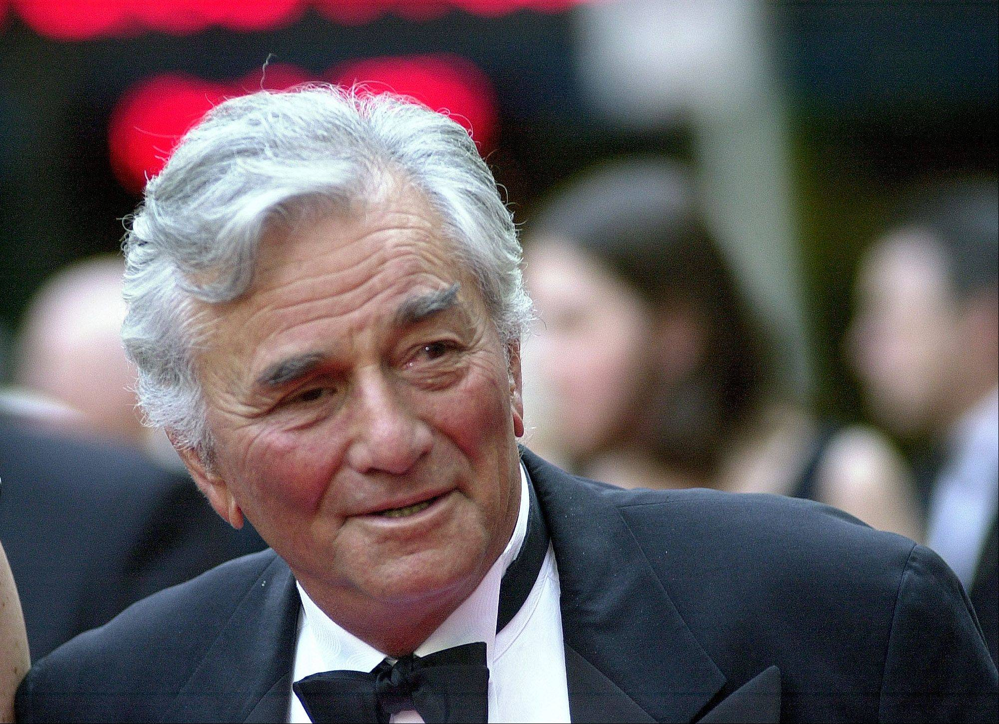 "Actor Peter Falk, from ""Columbo,"" arrives at NBC's 75th anniversary celebration, Sunday, May 5, 2002, at New York's Rockefeller Center."