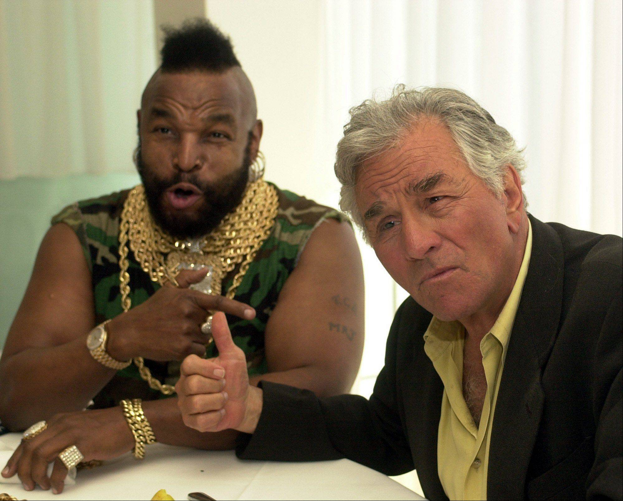 Television personalities Mr. T of A-Team, left, and Peter Falk of Columbo, tease each other at a press luncheon to celebrate NBC's 75th anniversary in West Hollywood, Calif., Thursday, April 11, 2002.