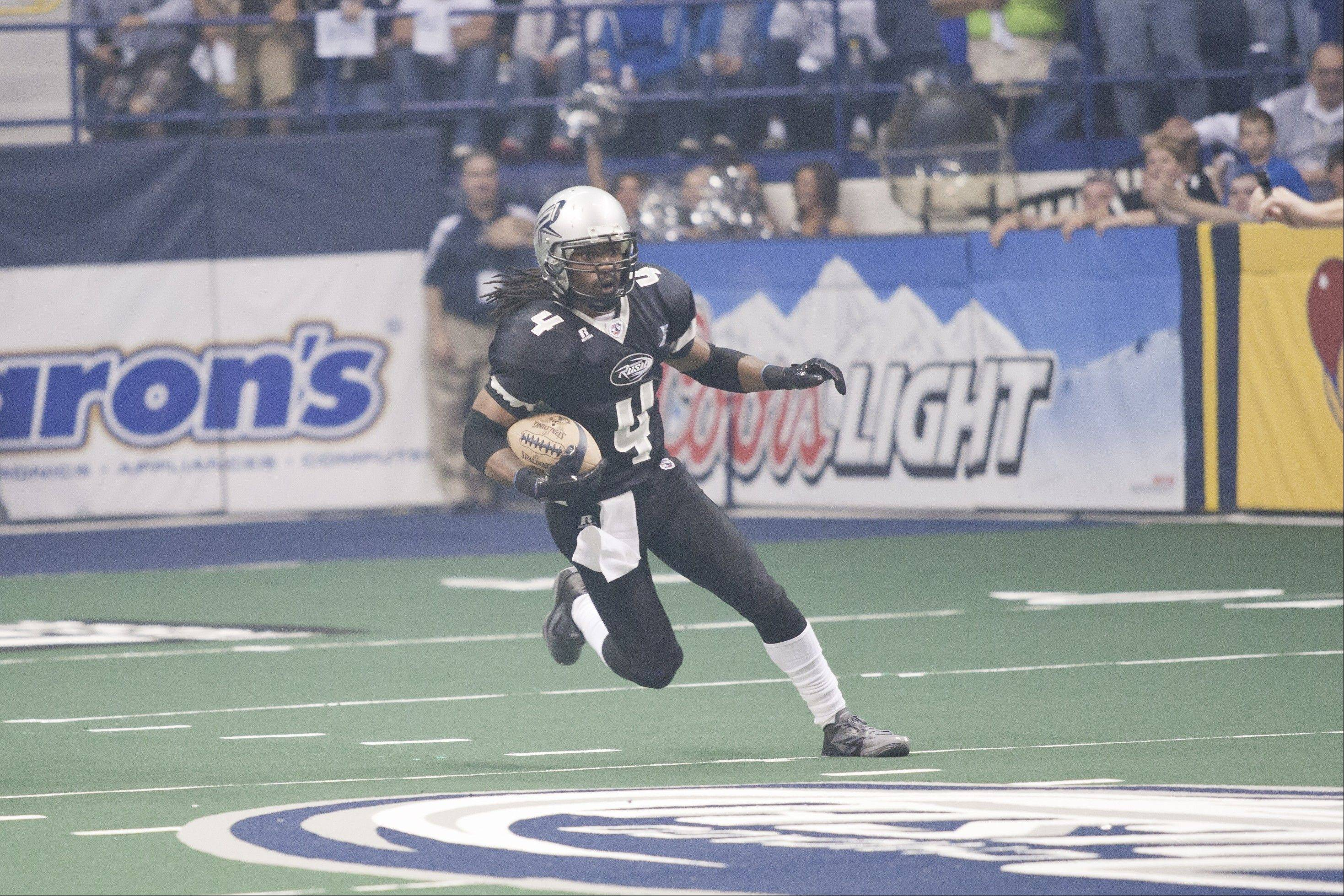 Rush defensive back Vic Hall has been a defensive stalwart this season. The Rush takes on the Iowa Barnstormers on Sunday at the Allstate Arena.