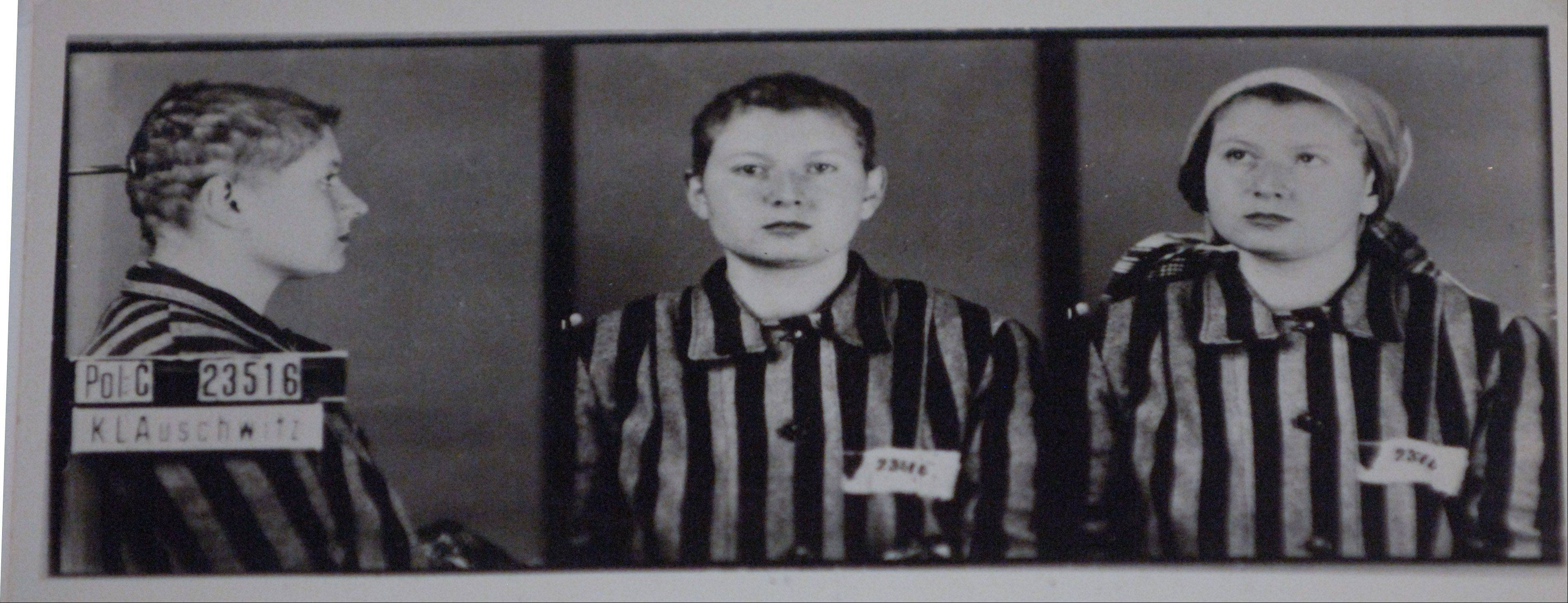 "Photographs of Jaroslava Praglova after having her head shaved, Auschwitz, Poland, ca 1942, part of the ""Women in the Holocaust"" exhibit at the Illinois Holocaust Museum in Skokie."